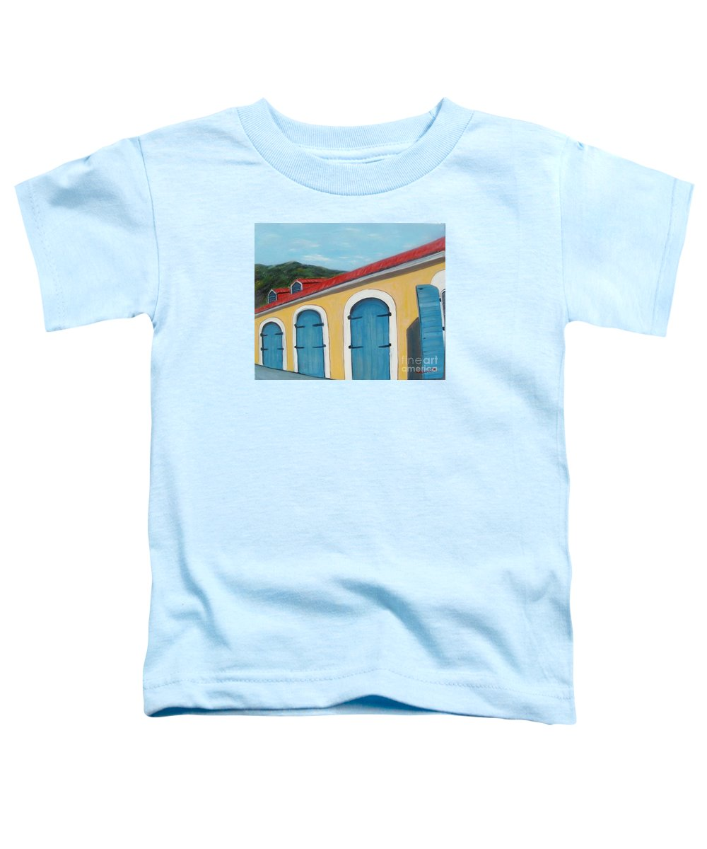 Doors Toddler T-Shirt featuring the painting Dutch Doors Of St. Thomas by Laurie Morgan