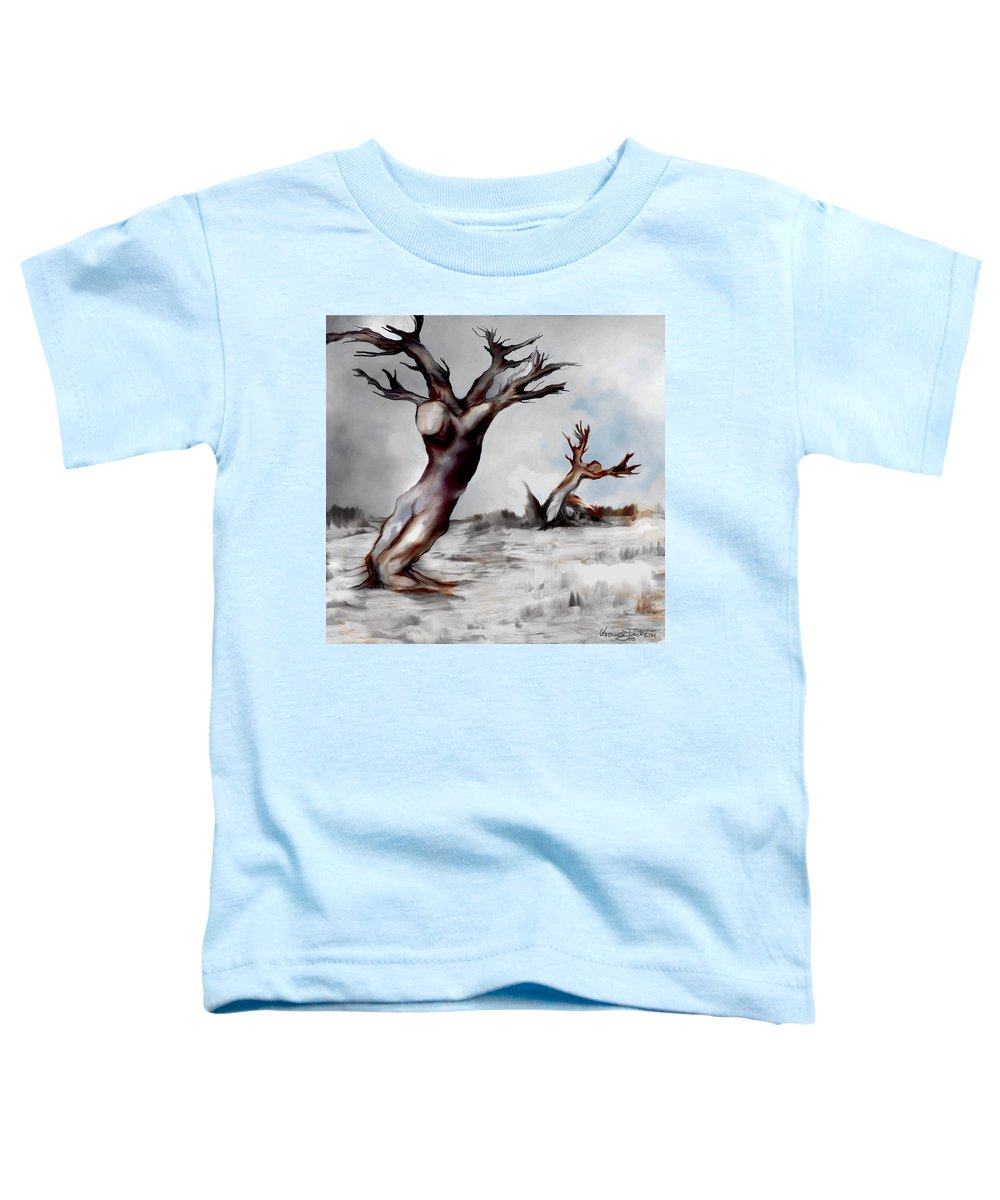 Trees Soul Nature Sky Storm Freedom Toddler T-Shirt featuring the mixed media Earthbound by Veronica Jackson