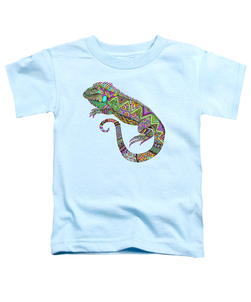Iguana Toddler T-Shirt featuring the drawing Electric Iguana by Tammy Wetzel