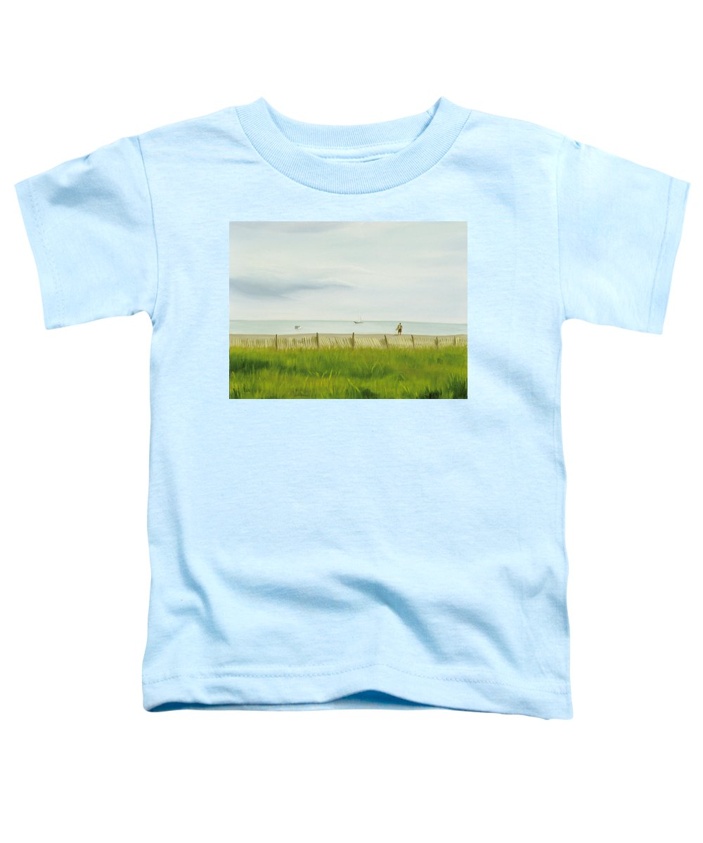 Seascape Toddler T-Shirt featuring the painting Evening At Cape May by Lea Novak