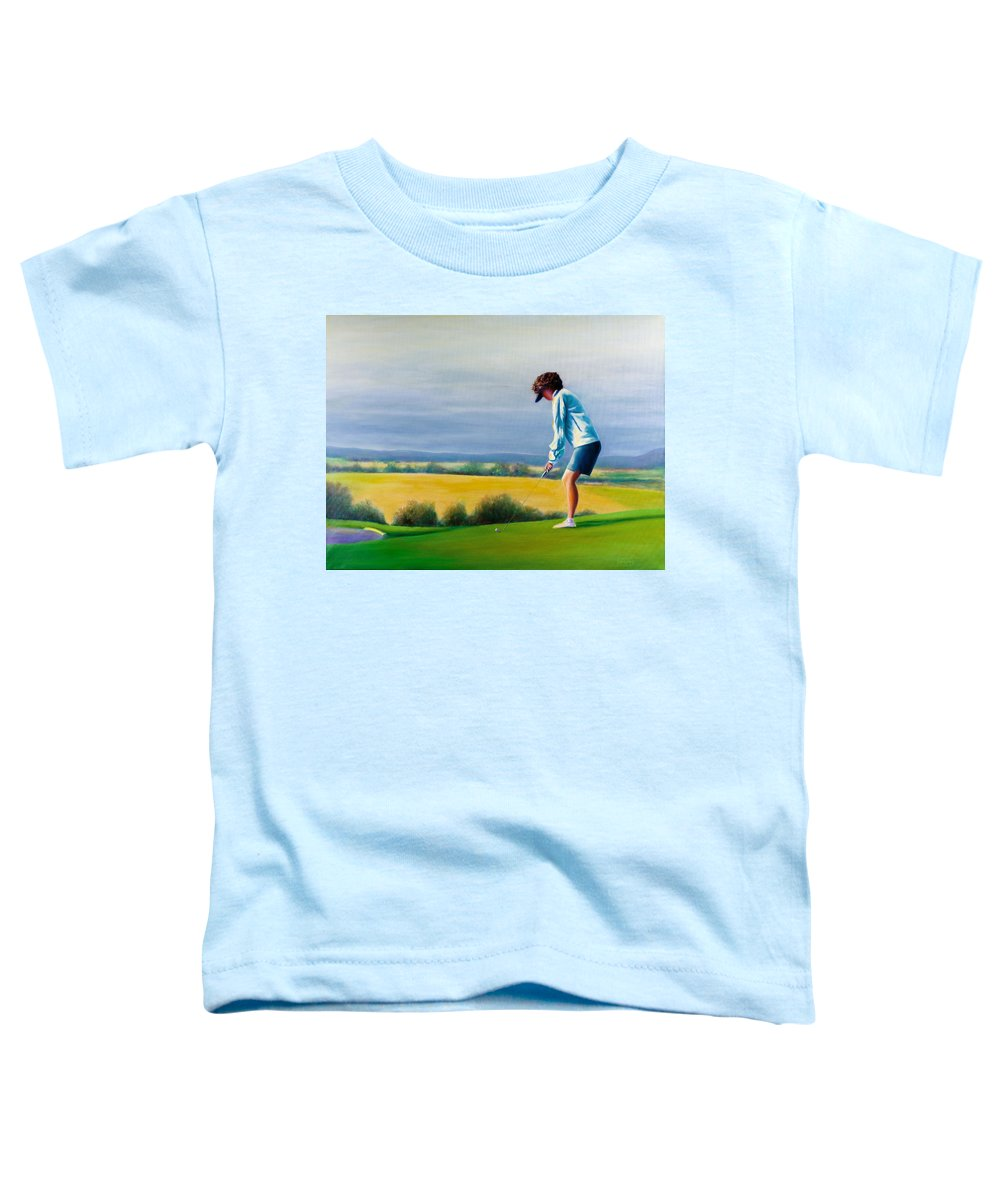 Golfer Toddler T-Shirt featuring the painting Fairy Golf Mother by Shannon Grissom