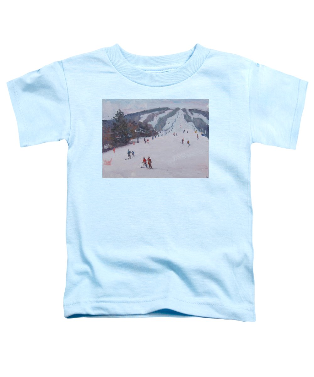 Landscape Toddler T-Shirt featuring the painting Family Ski by Dianne Panarelli Miller