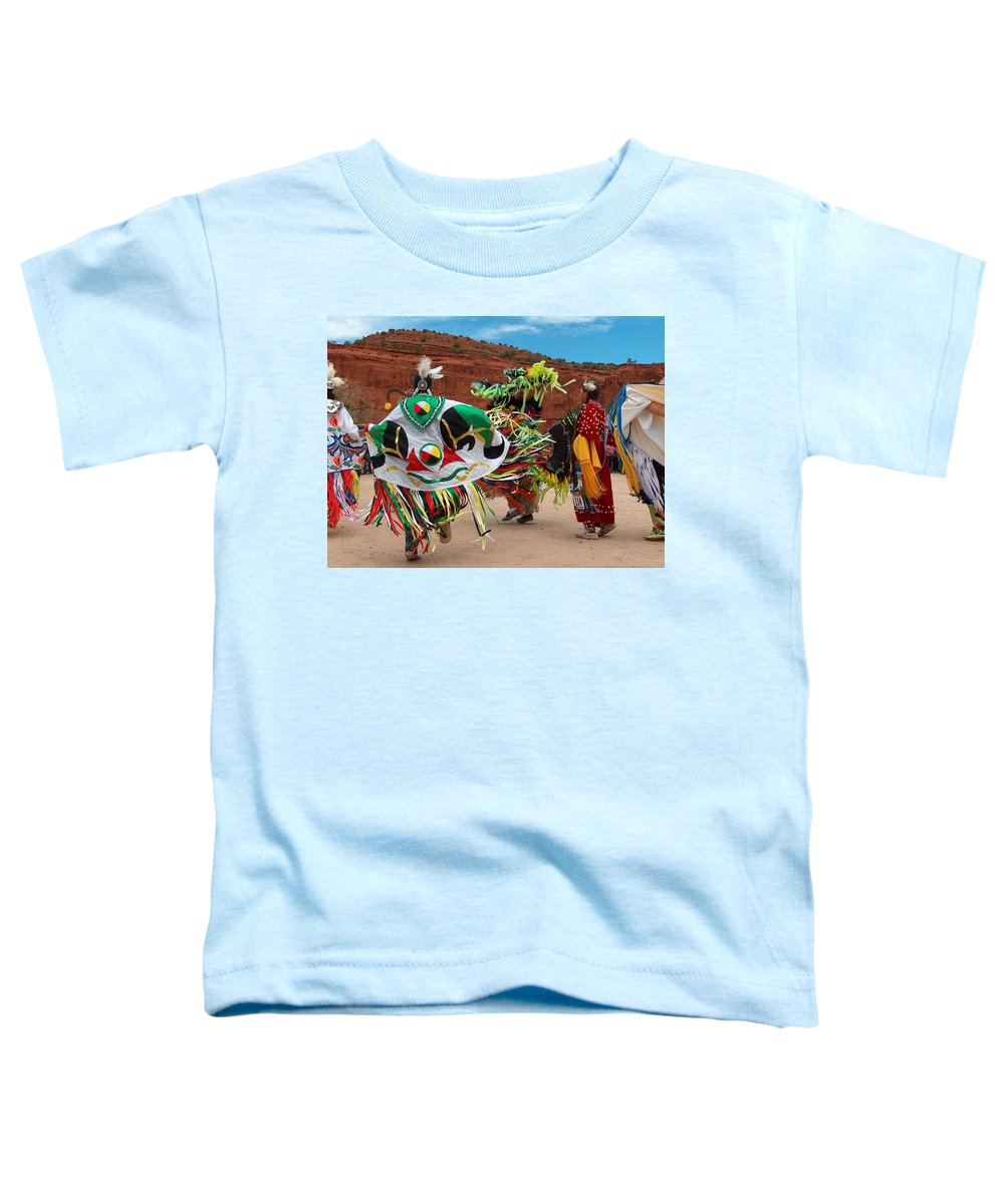 Fancy Shawl Dancer Toddler T-Shirt featuring the photograph Fancy Shawl Dancer At Star Feather Pow-wow by Tim McCarthy