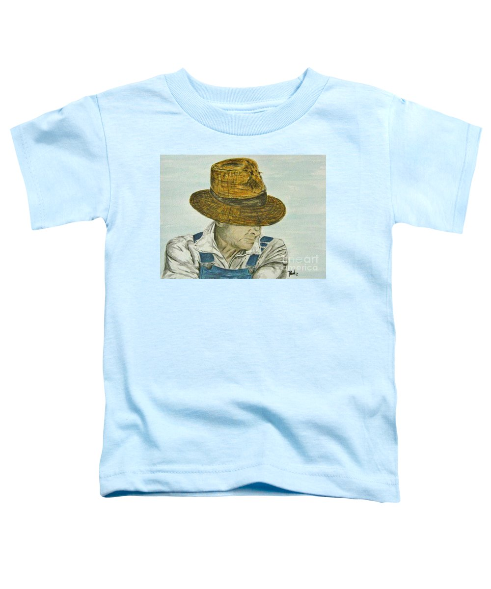 Portrait Toddler T-Shirt featuring the painting Farmer Ted by Regan J Smith