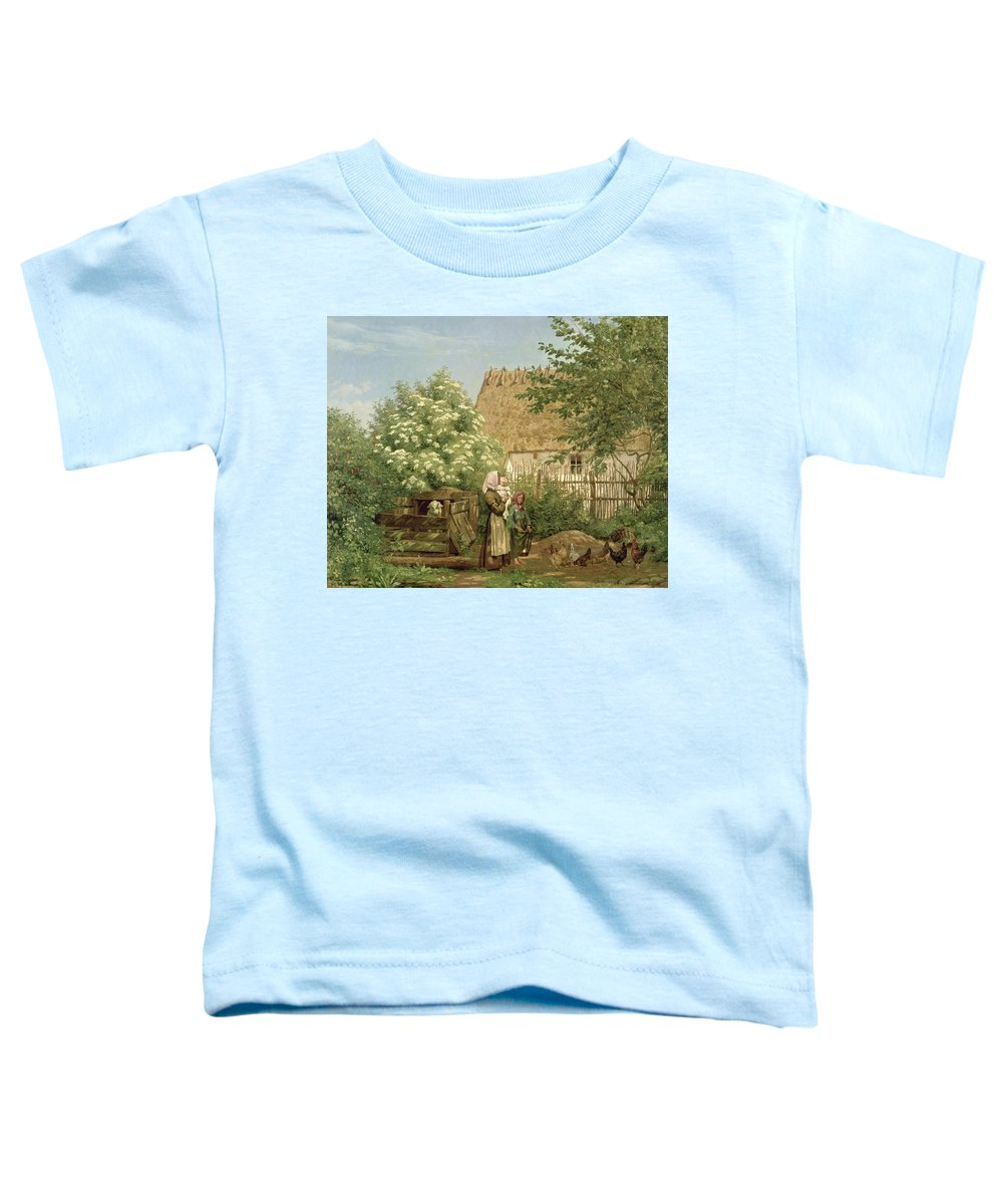 Scandinavian Toddler T-Shirt featuring the painting Feeding The Chickens by Frederick Christian Lund