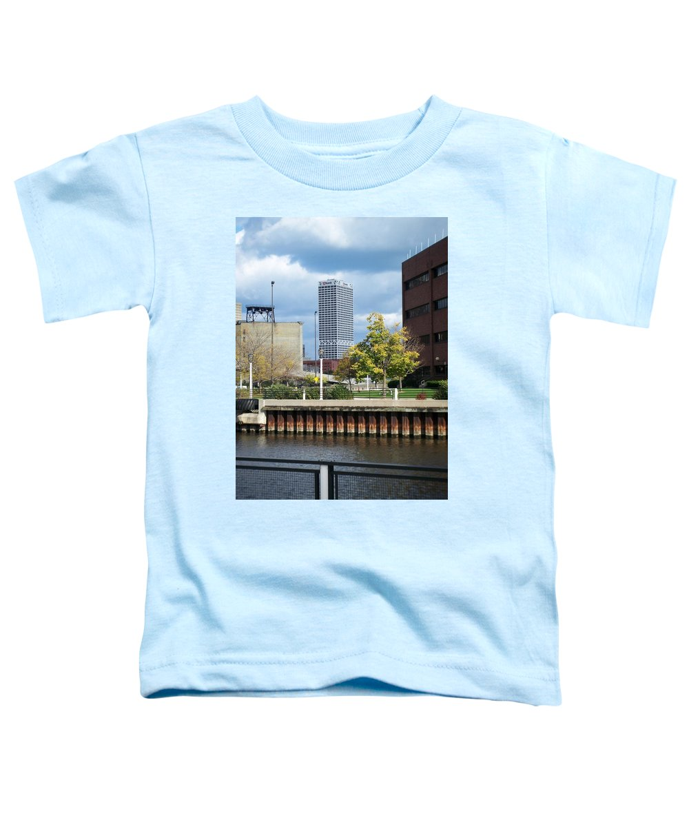 First Star Bank Toddler T-Shirt featuring the photograph First Star Tall View From River by Anita Burgermeister