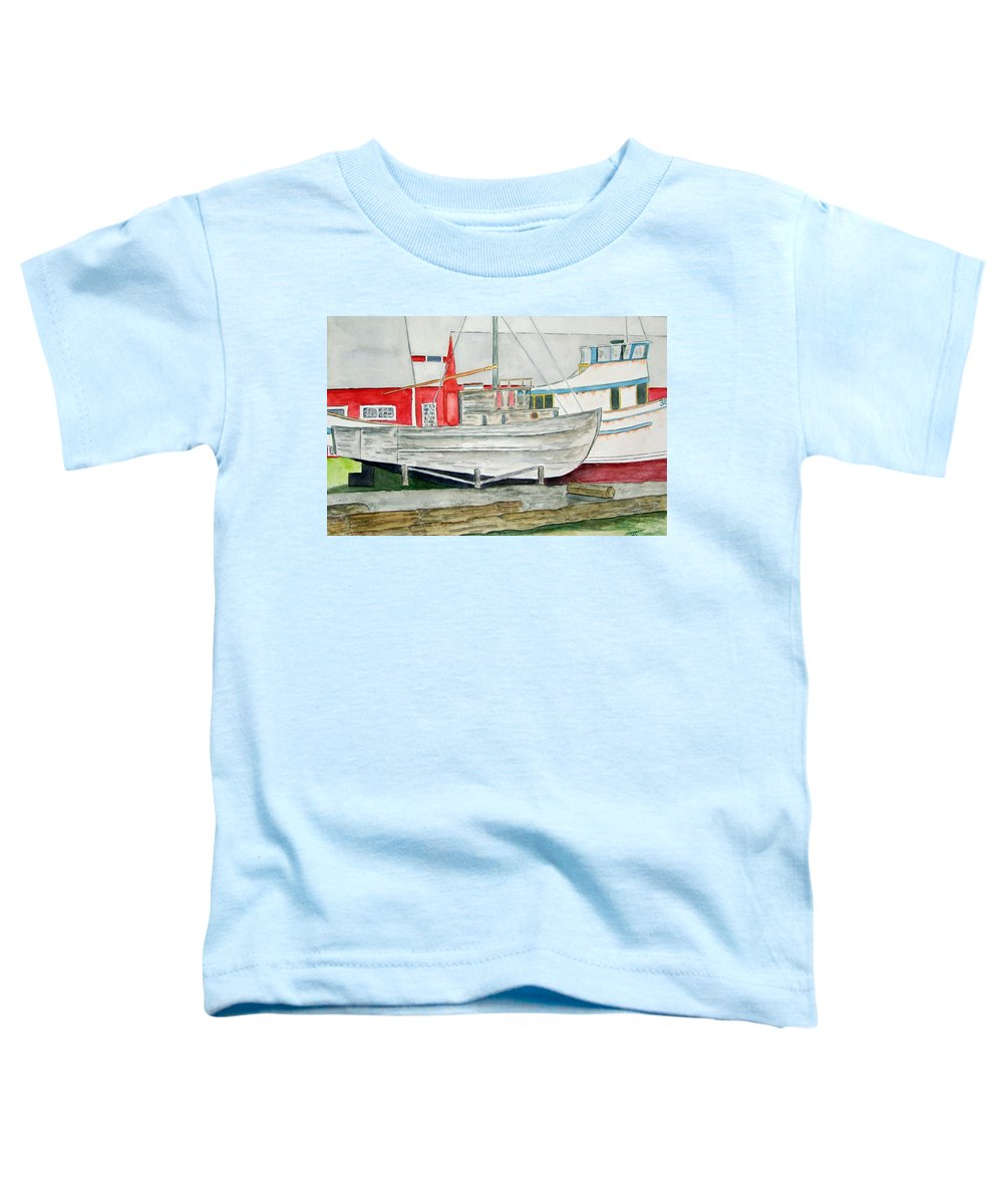 Alaska Art Toddler T-Shirt featuring the painting Fish Out Of Water by Larry Wright
