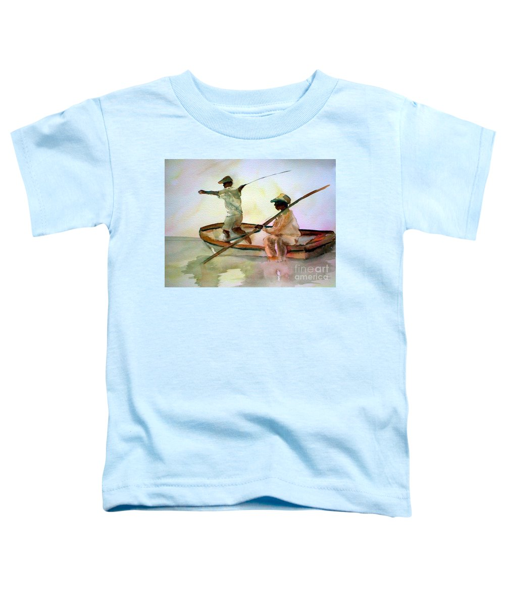 Fishing Toddler T-Shirt featuring the painting Fishing by Rhonda Hancock