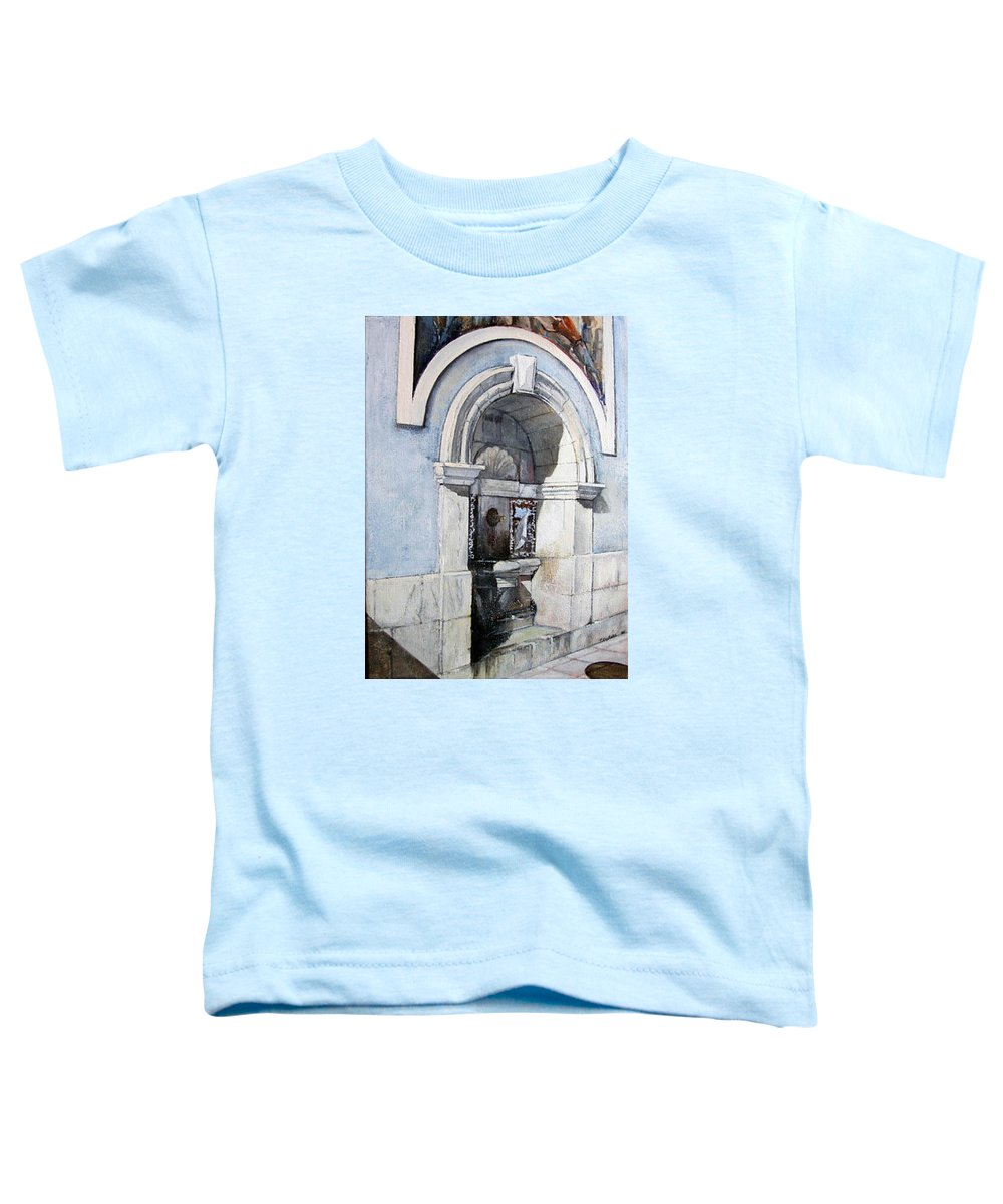 Fuente Toddler T-Shirt featuring the painting Fuente Castro Urdiales by Tomas Castano