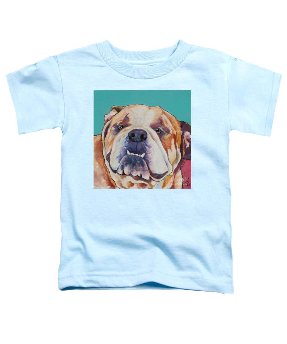 Pat Saunders-white Pet Portraits Toddler T-Shirt featuring the painting Game Face  by Pat Saunders-White