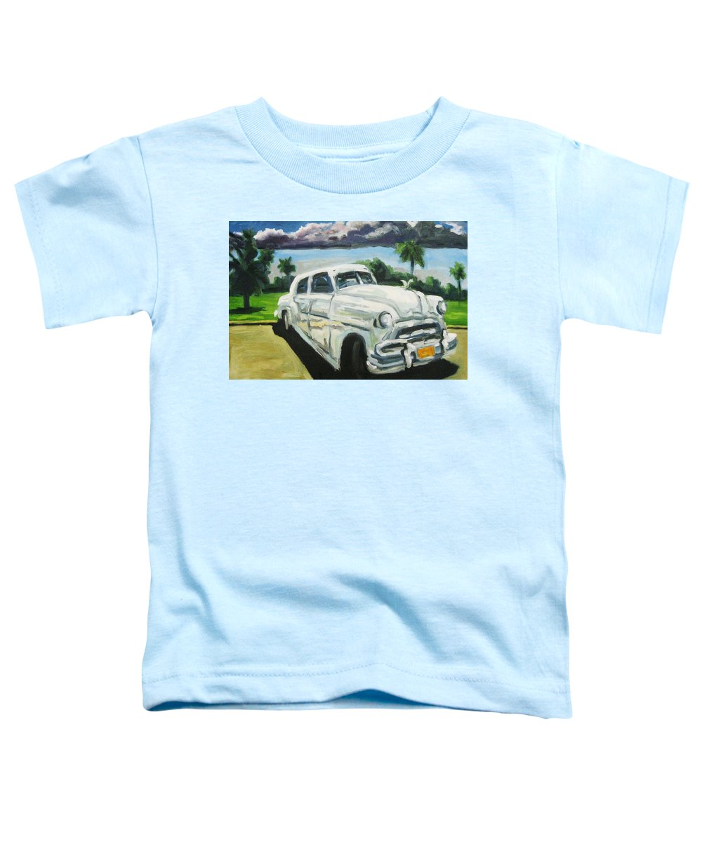 Old Cars Toddler T-Shirt featuring the painting Gangsters On Vacation by John Malone