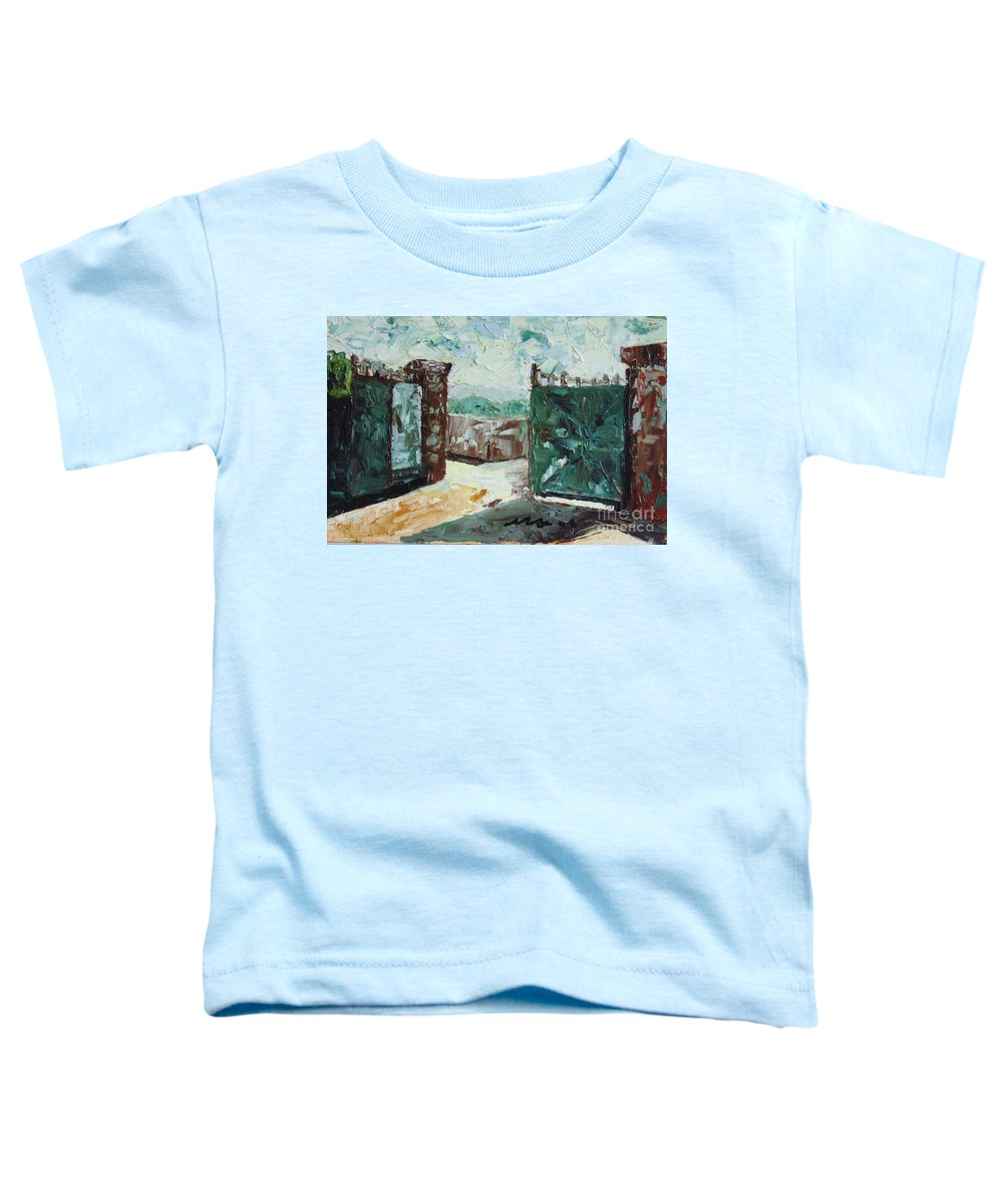 Gate Oil Canvas Toddler T-Shirt featuring the painting Gate2 by Seon-Jeong Kim