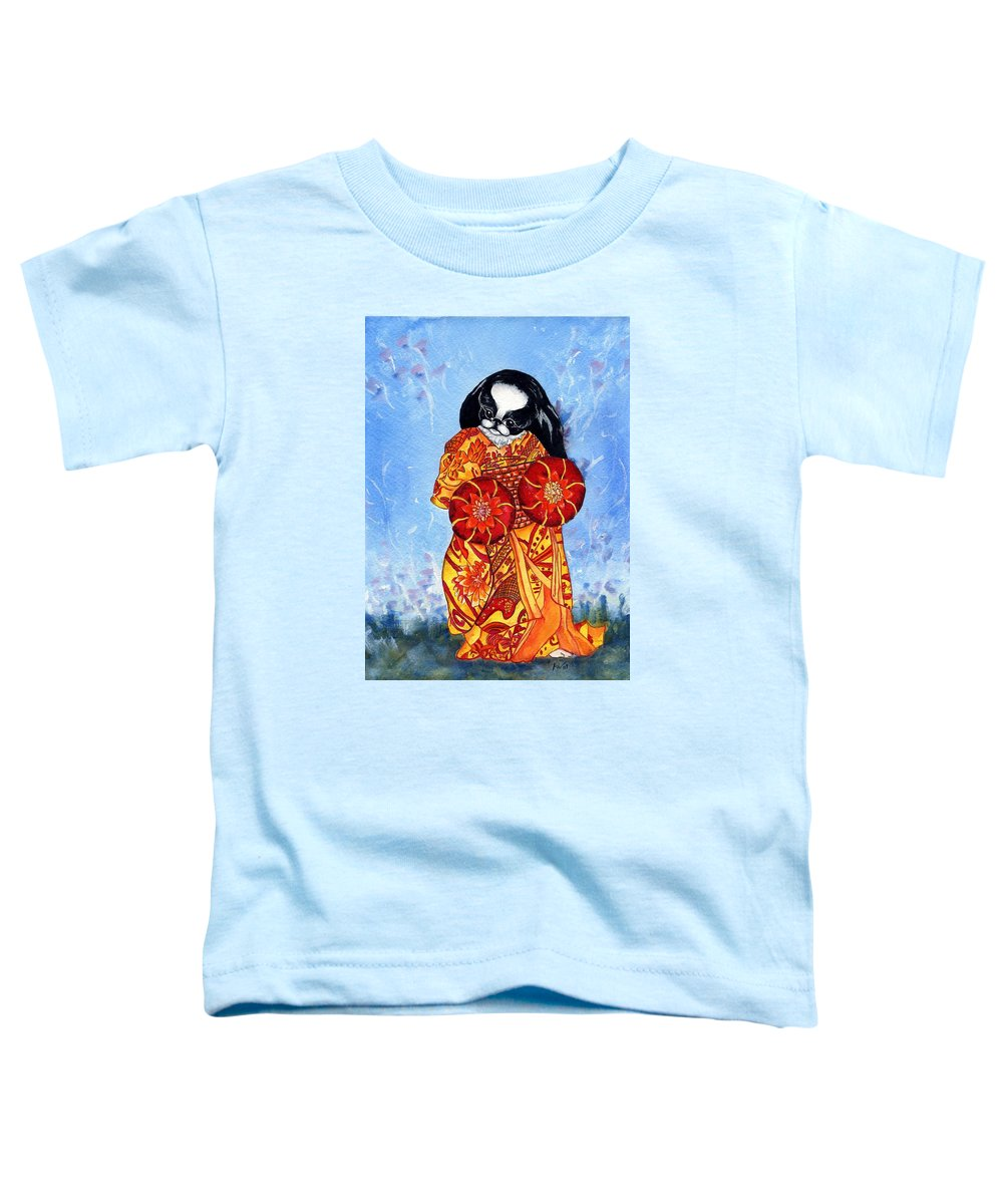 Japanese Chin Toddler T-Shirt featuring the painting Geisha Chin by Kathleen Sepulveda