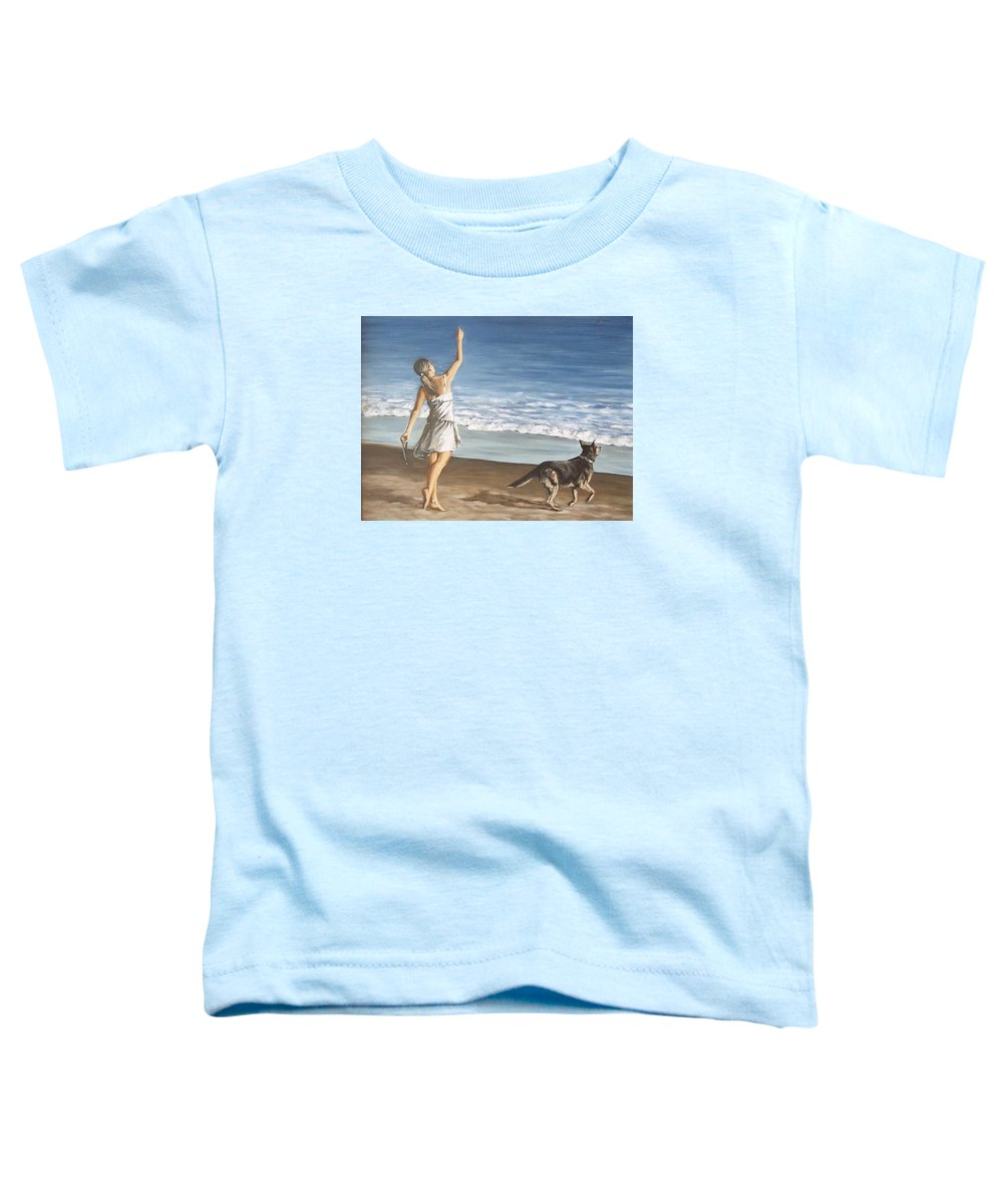 Portrait Girl Beach Dog Seascape Sea Children Figure Figurative Toddler T-Shirt featuring the painting Girl And Dog by Natalia Tejera