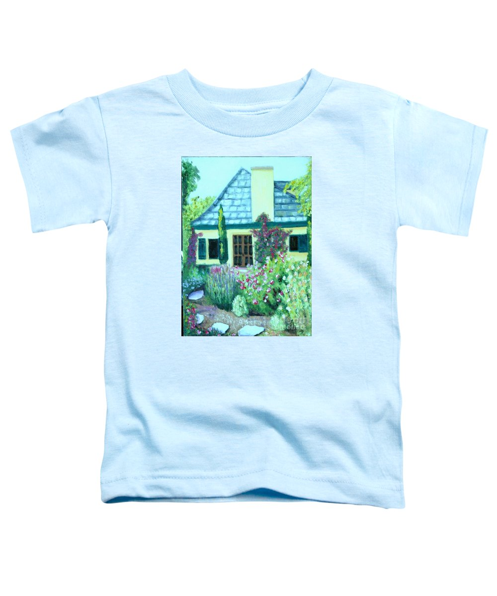 Cottage Toddler T-Shirt featuring the painting Guest Cottage by Laurie Morgan