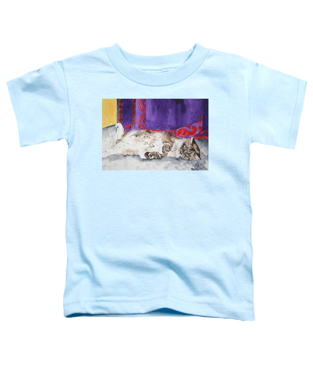 Cat Toddler T-Shirt featuring the painting Guilley by Jean Blackmer