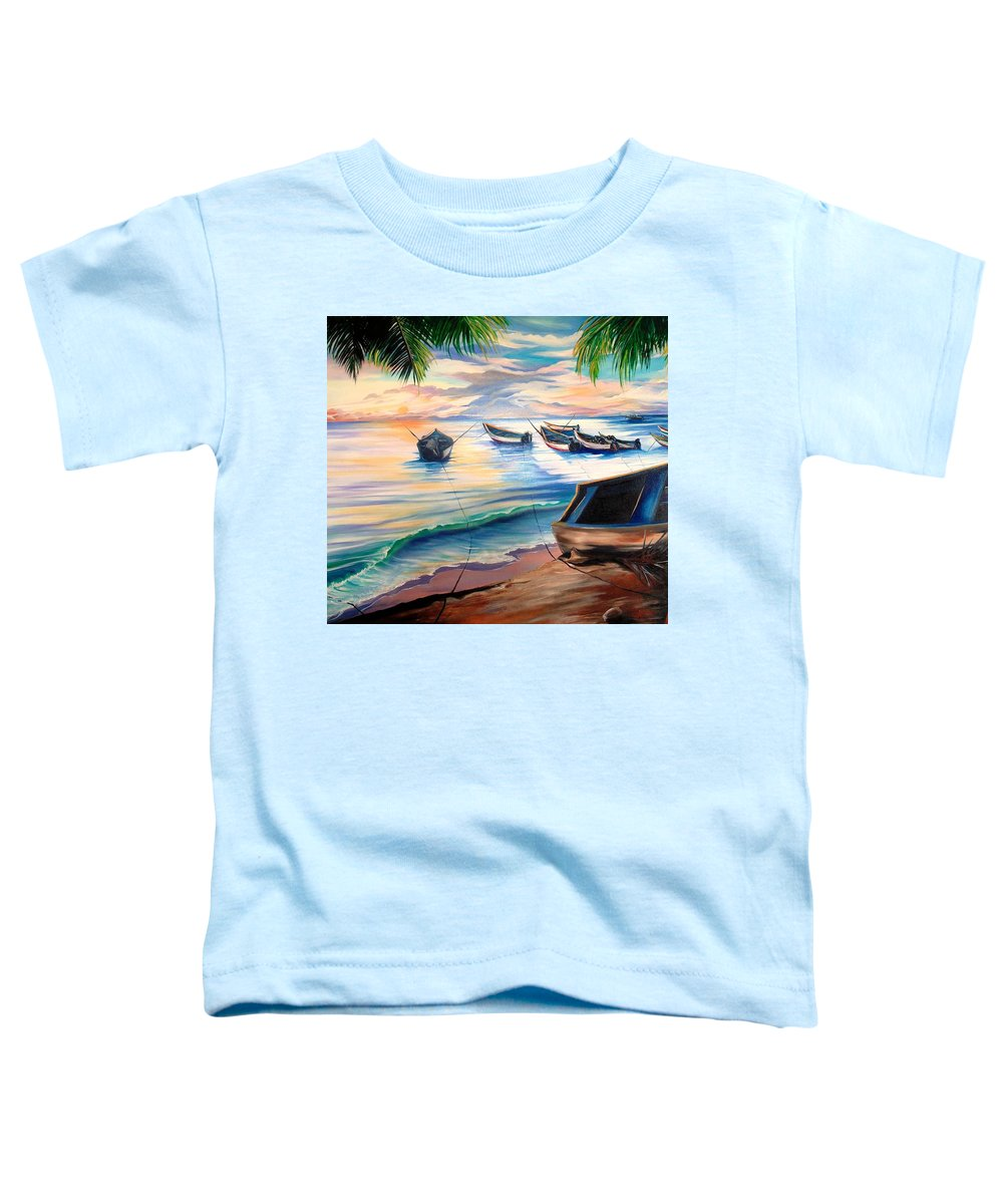 Ocean Painting Caribbean Painting Seascape Painting Beach Painting Fishing Boats Painting Sunset Painting Blue Palm Trees Fisherman Trinidad And Tobago Painting Tropical Painting Toddler T-Shirt featuring the painting Home From The Sea by Karin Dawn Kelshall- Best