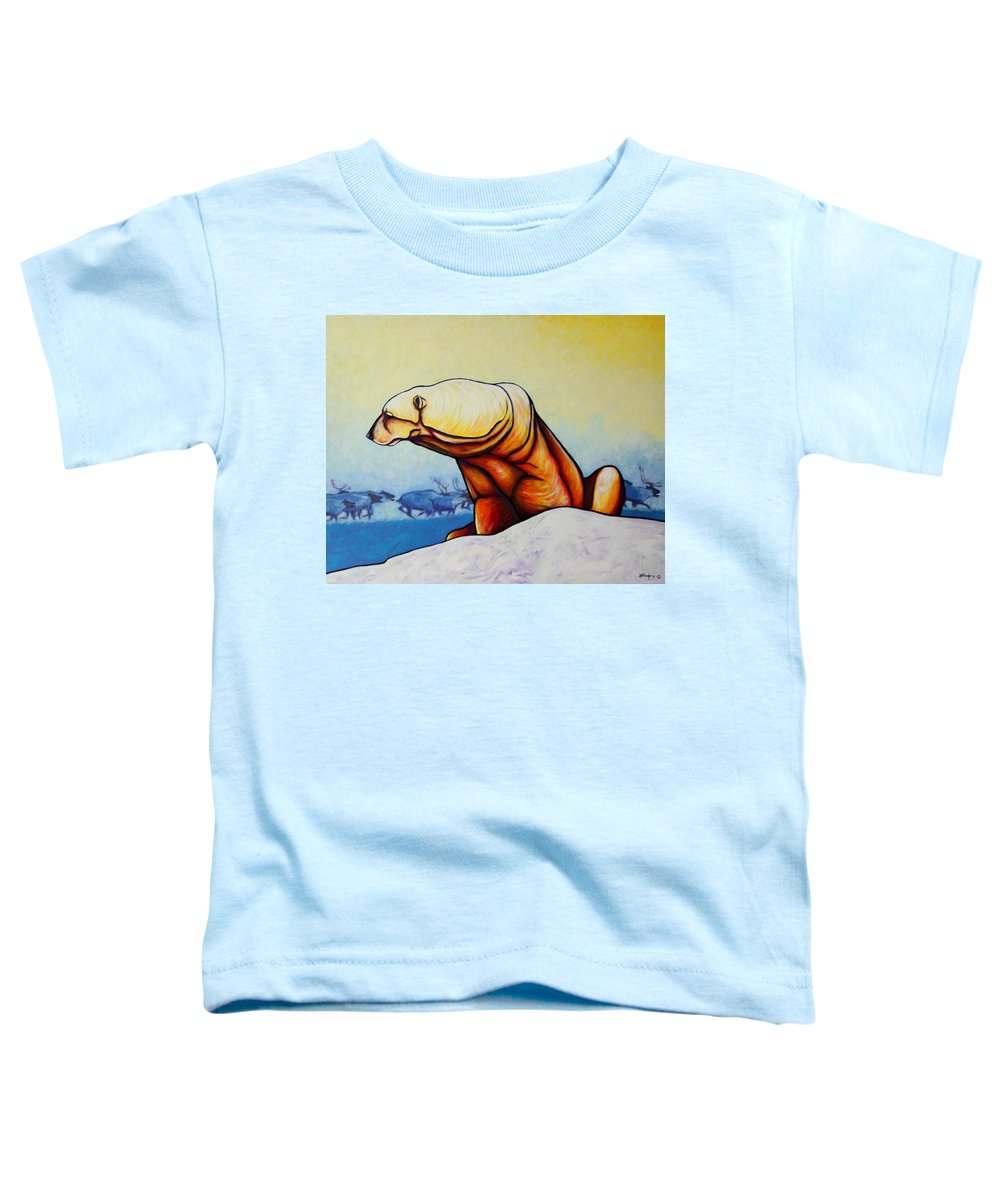 Wildlife Toddler T-Shirt featuring the painting Hunger Burns - Polar Bear And Caribou by Joe Triano