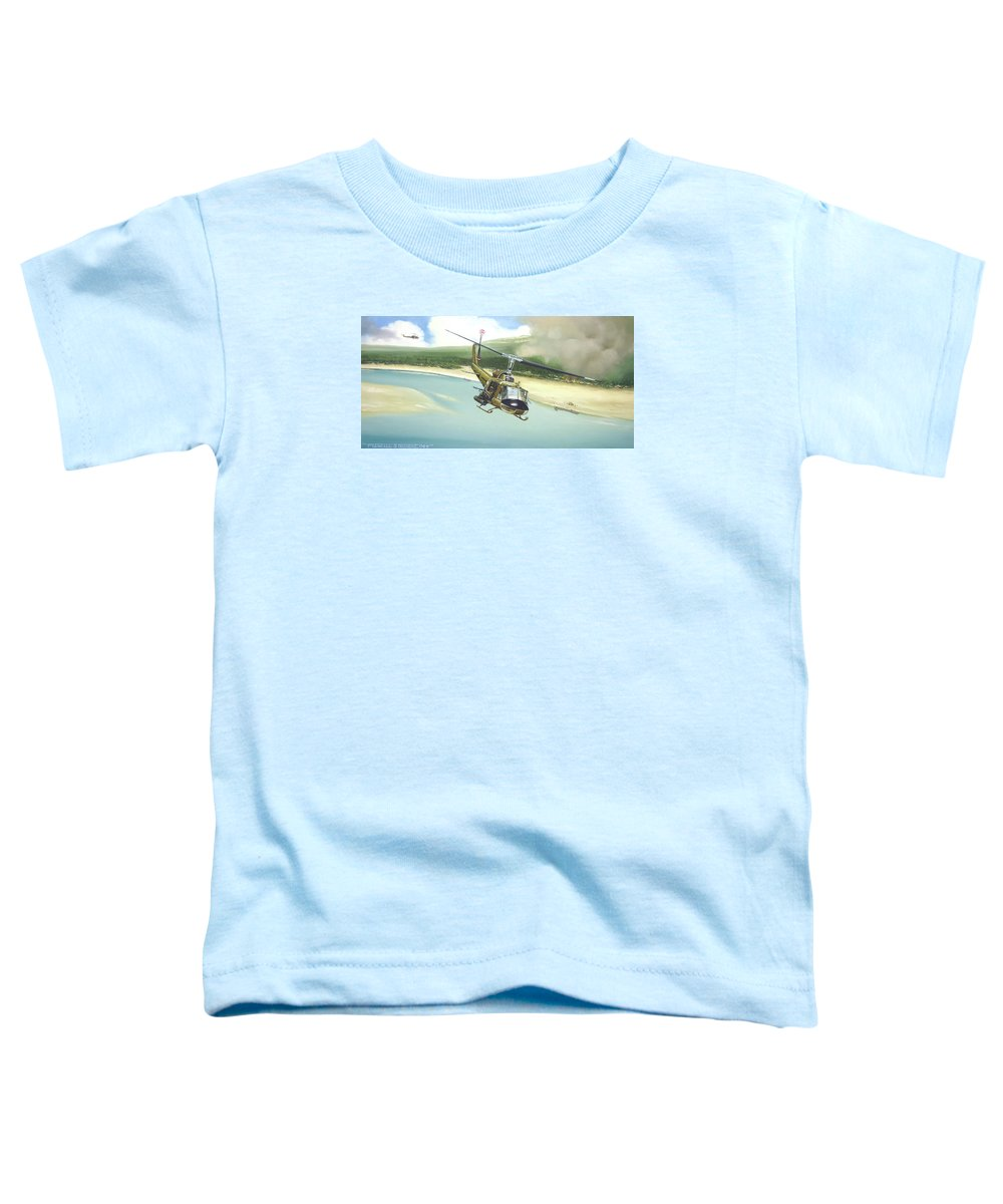 Military Toddler T-Shirt featuring the painting Hunter Hueys by Marc Stewart