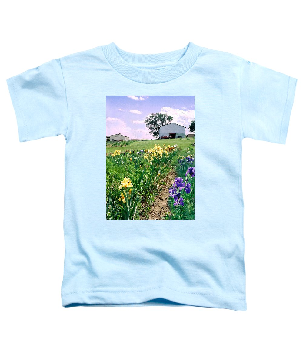 Landscape Painting Toddler T-Shirt featuring the photograph Iris Farm by Steve Karol
