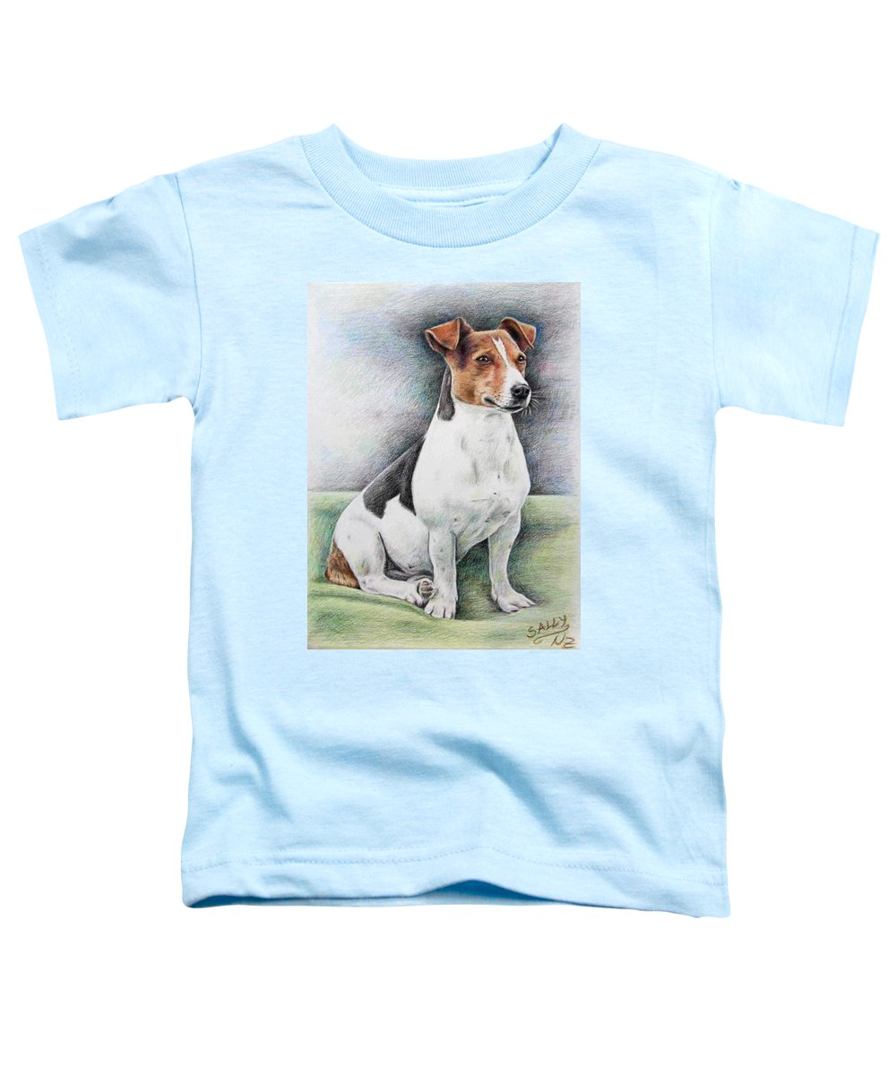 Dog Toddler T-Shirt featuring the drawing Jack Russell Terrier by Nicole Zeug