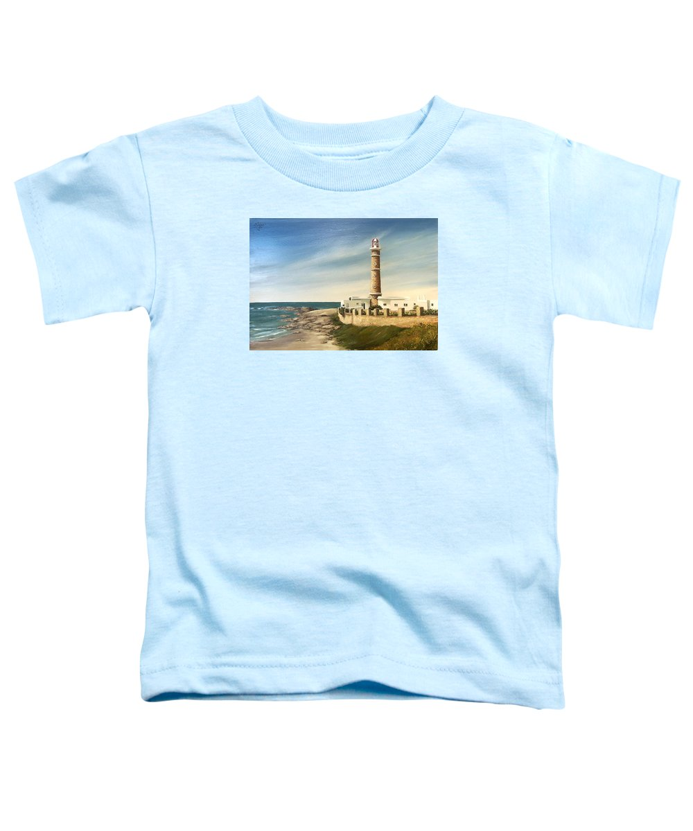 Landscape Seascape Lighthouse Uruguay Beach Sea Water Toddler T-Shirt featuring the painting Jose Ignacio Lighthouse Evening by Natalia Tejera