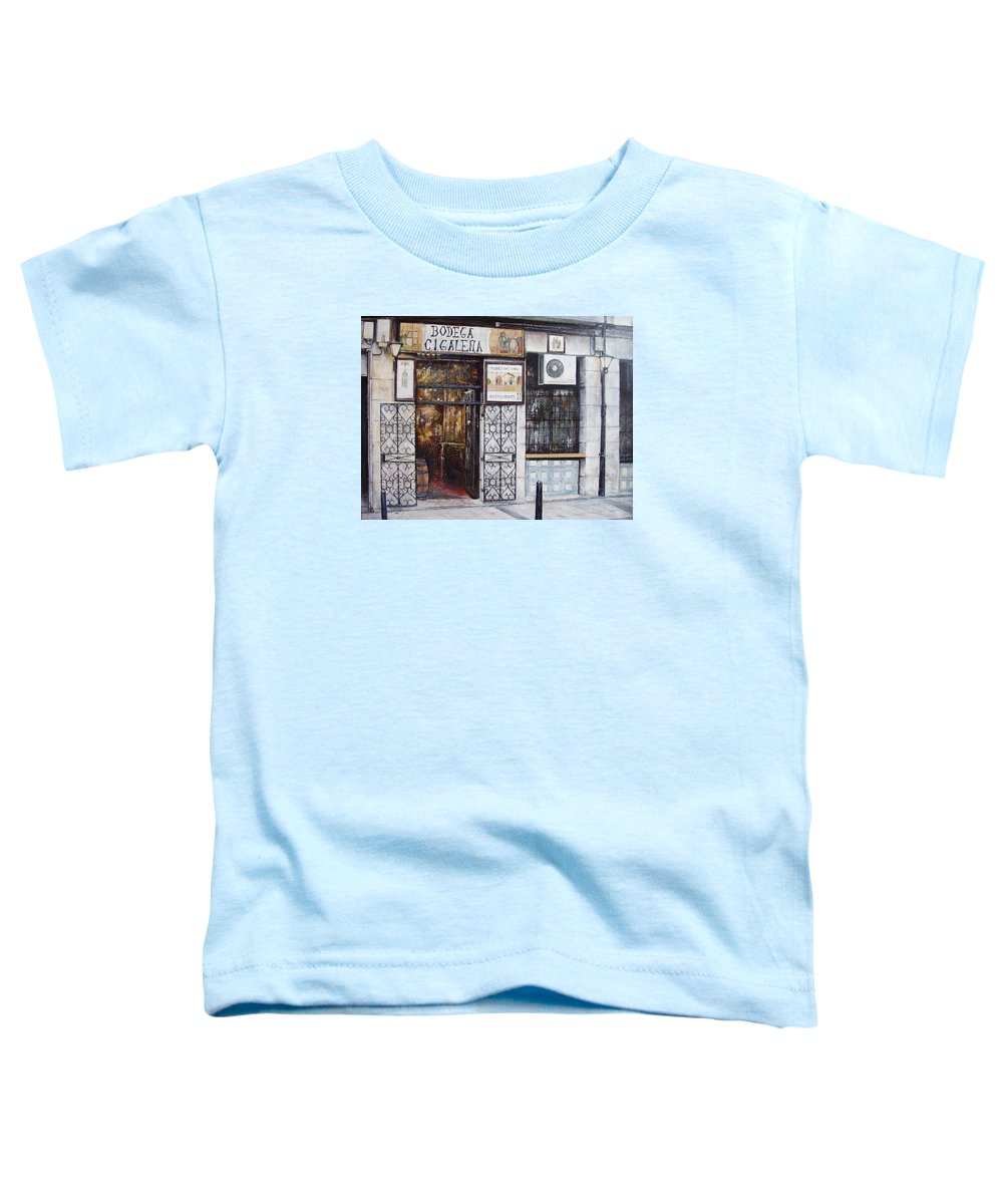 Bodega Toddler T-Shirt featuring the painting La Cigalena Old Restaurant by Tomas Castano