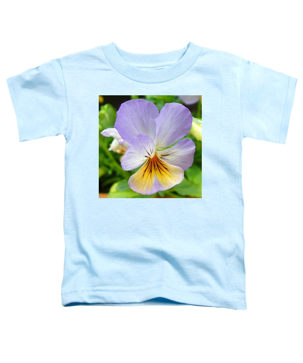 Pansy Toddler T-Shirt featuring the photograph Lavender Pansy by Nancy Mueller