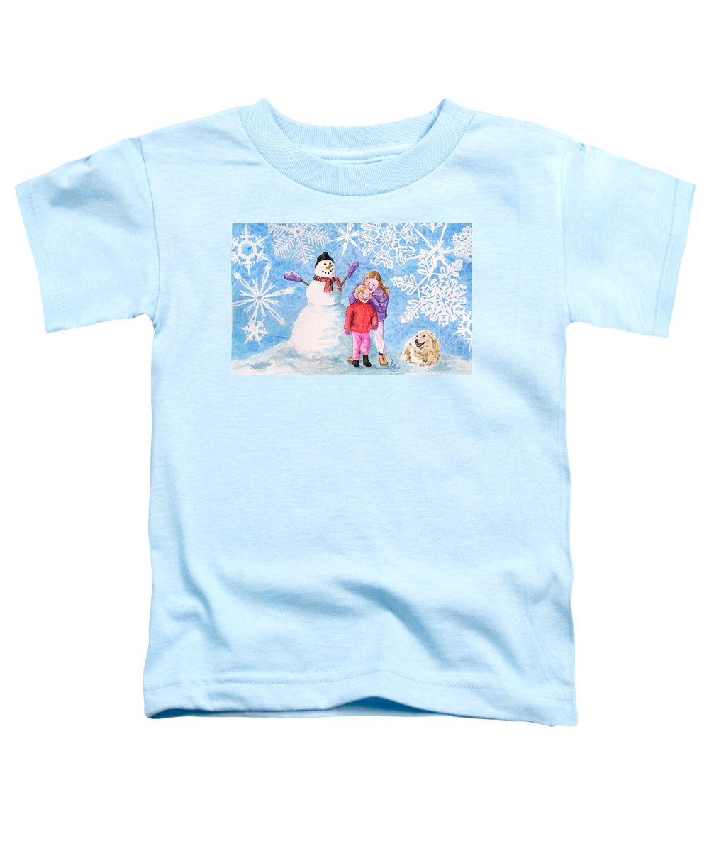 Snowman Toddler T-Shirt featuring the painting Let It Snow by Gale Cochran-Smith