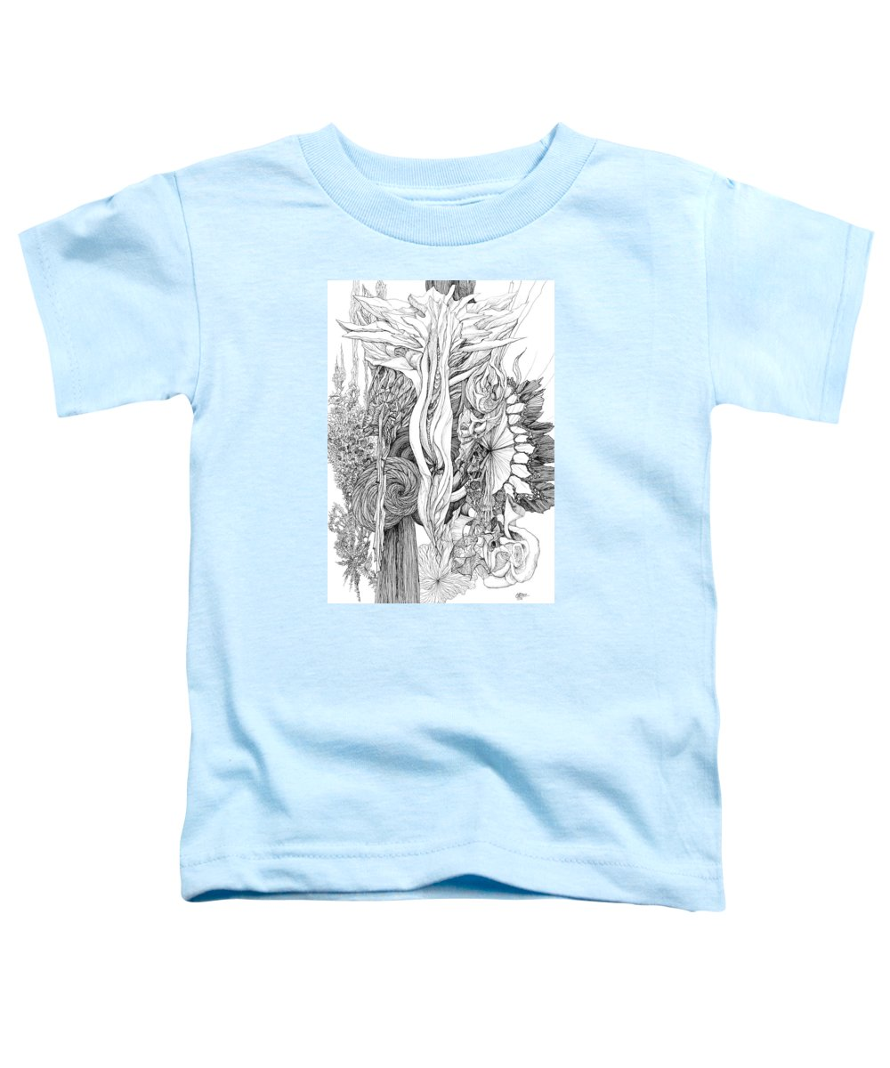 Botanic Zen Tangle Zentangle Abstract Toddler T-Shirt featuring the drawing Life Force by Charles Cater