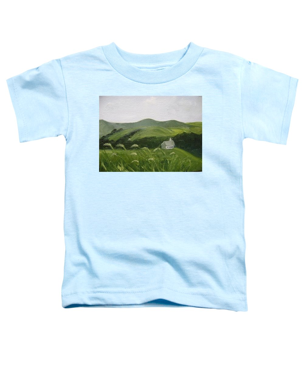 Landscape Toddler T-Shirt featuring the painting Little Schoolhouse On The Hill by Toni Berry