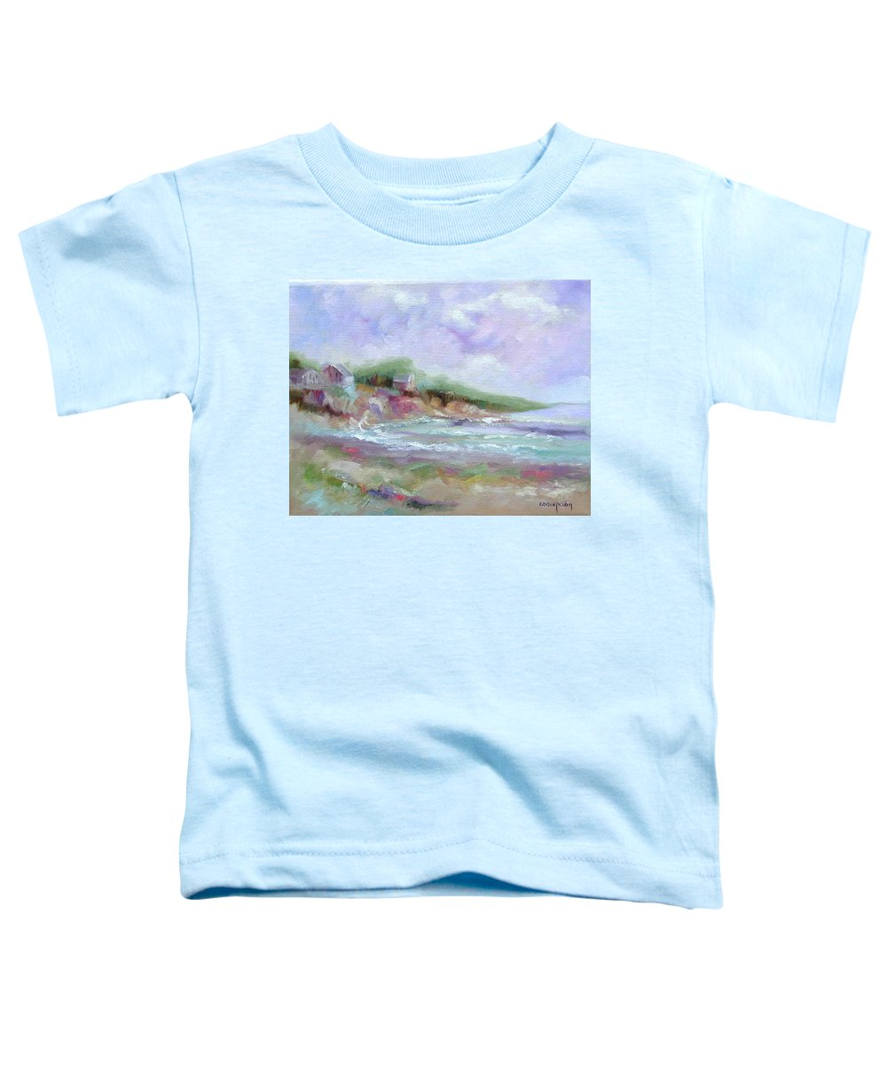 Maine Coastline Toddler T-Shirt featuring the painting Maine Coastline by Ginger Concepcion