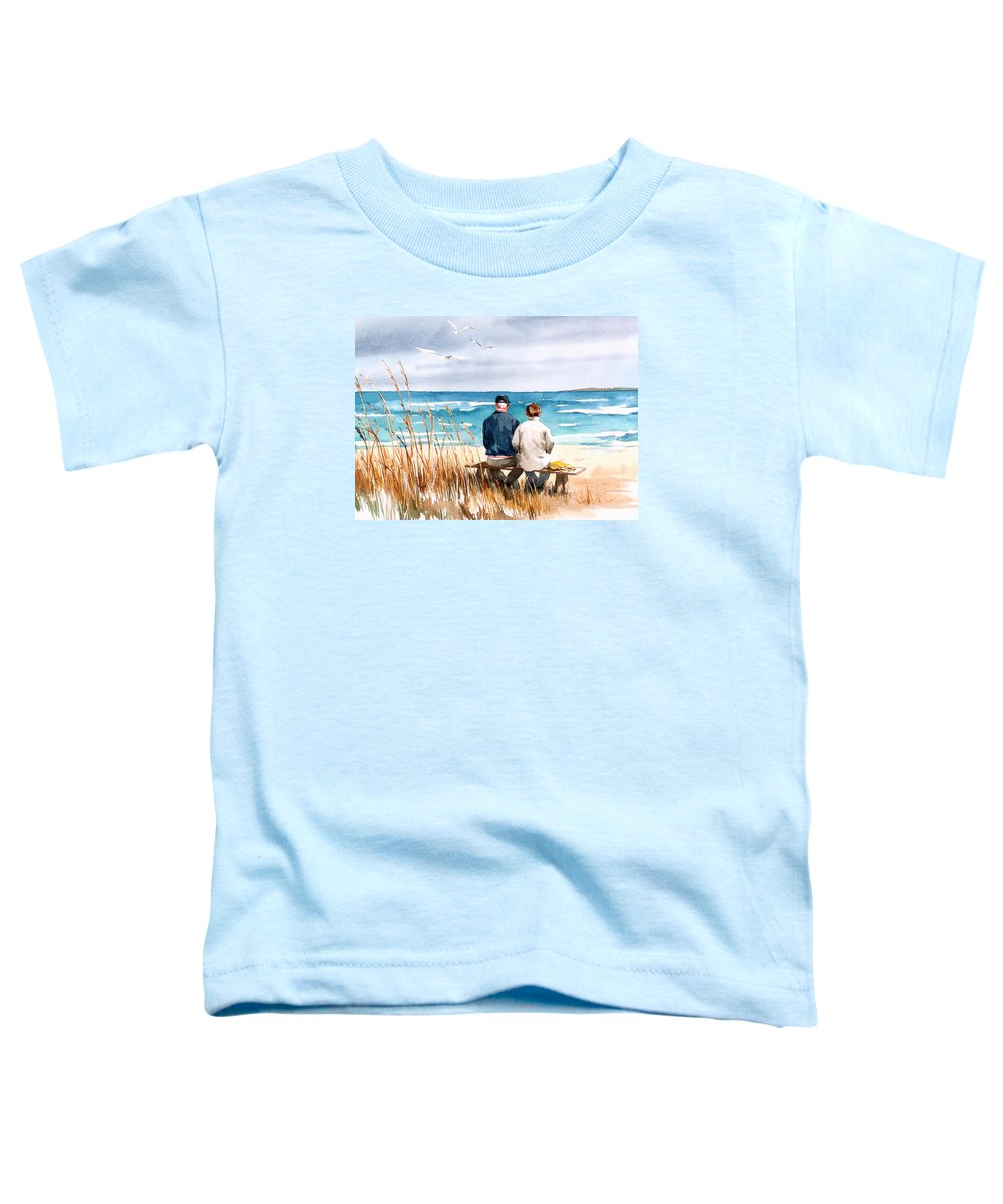 Couple On Beach Toddler T-Shirt featuring the painting Memories by Art Scholz