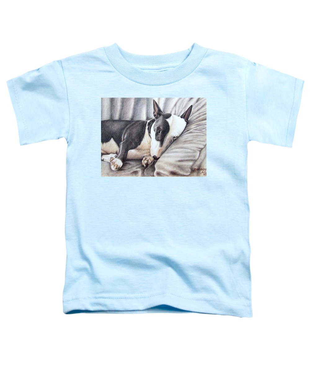Dog Toddler T-Shirt featuring the drawing Mini Bulldog Terrier by Nicole Zeug