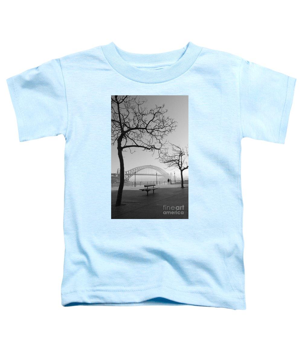 Sydney Harbour Bridge Mist Australia Toddler T-Shirt featuring the photograph Misty Sydney Morning by Avalon Fine Art Photography