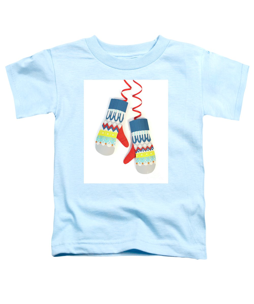 Mittens Toddler T-Shirt featuring the mixed media Mittens by Isobel Barber