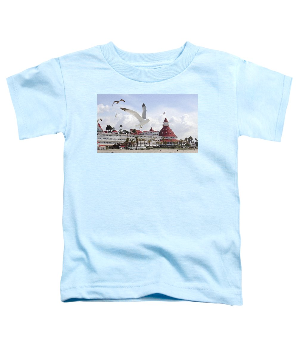 Beach Toddler T-Shirt featuring the photograph Morning Gulls On Coronado by Margie Wildblood