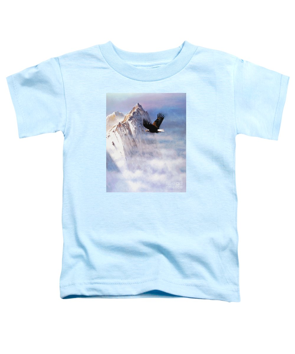 Eagle Toddler T-Shirt featuring the painting Mountain Majesty by Robert Foster