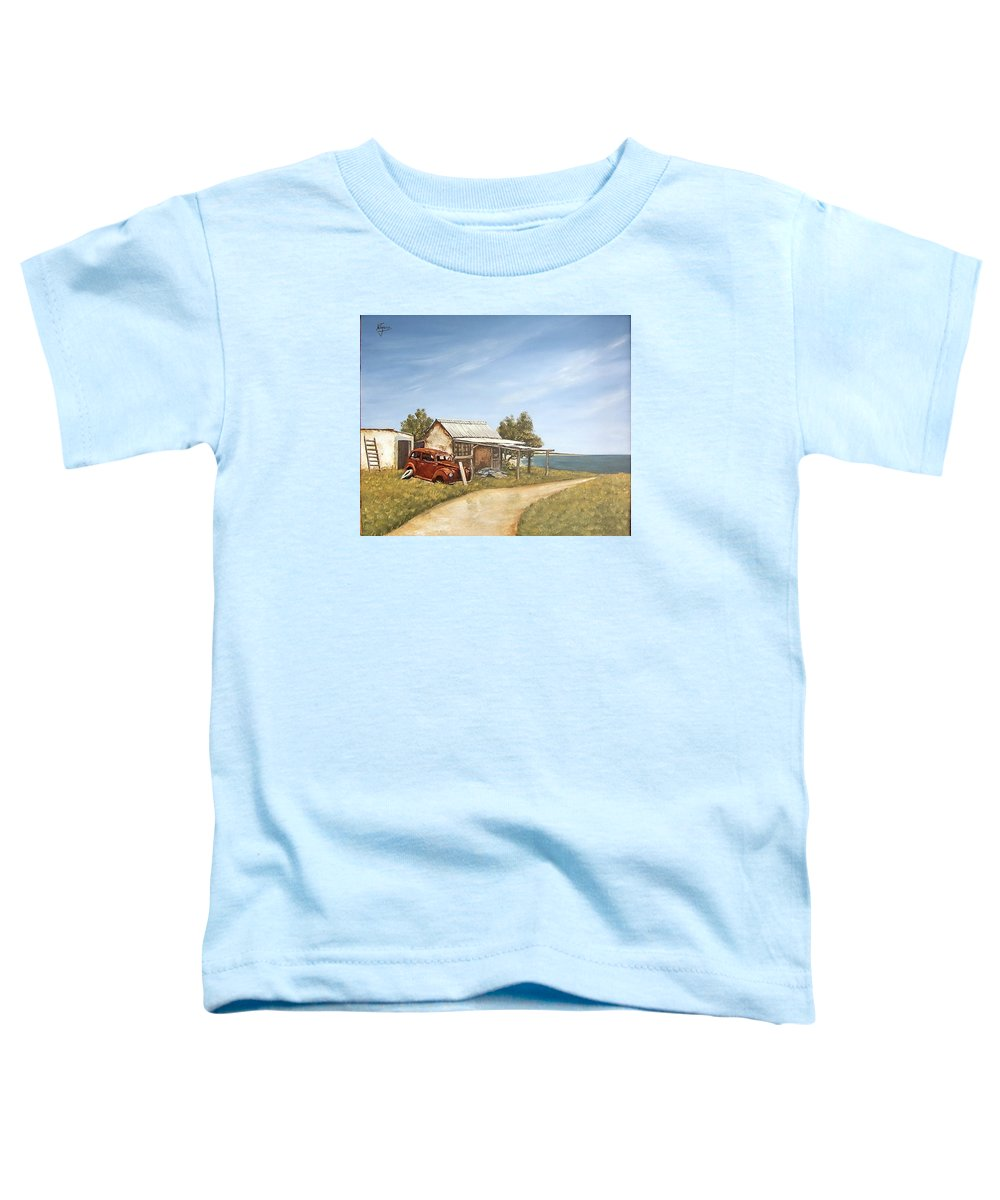 Old House Sea Seascape Landscape Toddler T-Shirt featuring the painting Old House By The Sea by Natalia Tejera