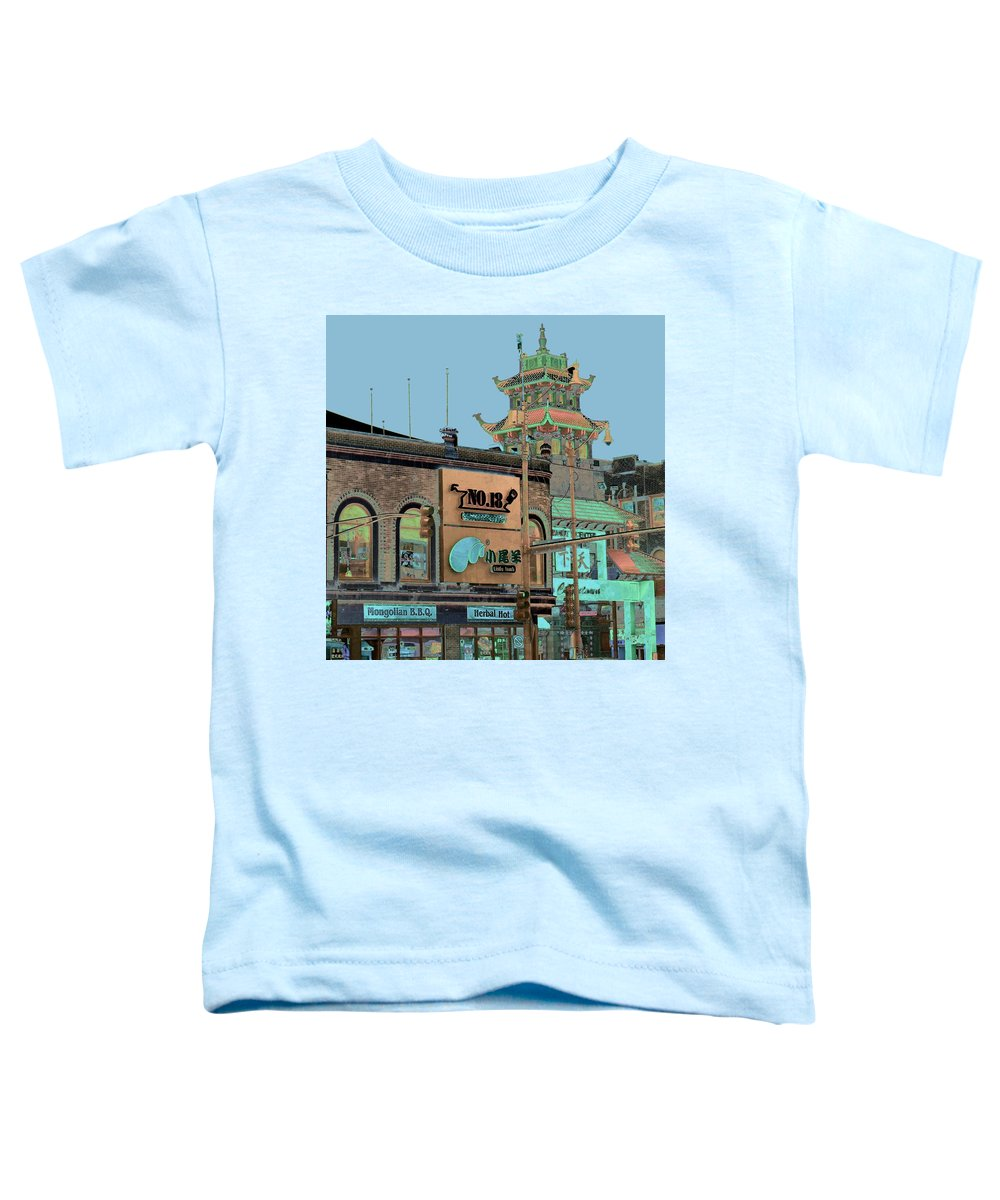 China Town Toddler T-Shirt featuring the photograph Pagoda Tower Chinatown Chicago by Marianne Dow
