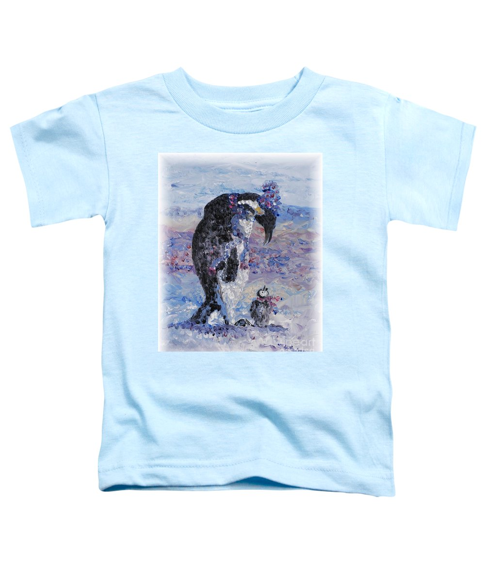 Penguins Winter Snow Blue Purple White Toddler T-Shirt featuring the painting Penguin Love by Nadine Rippelmeyer