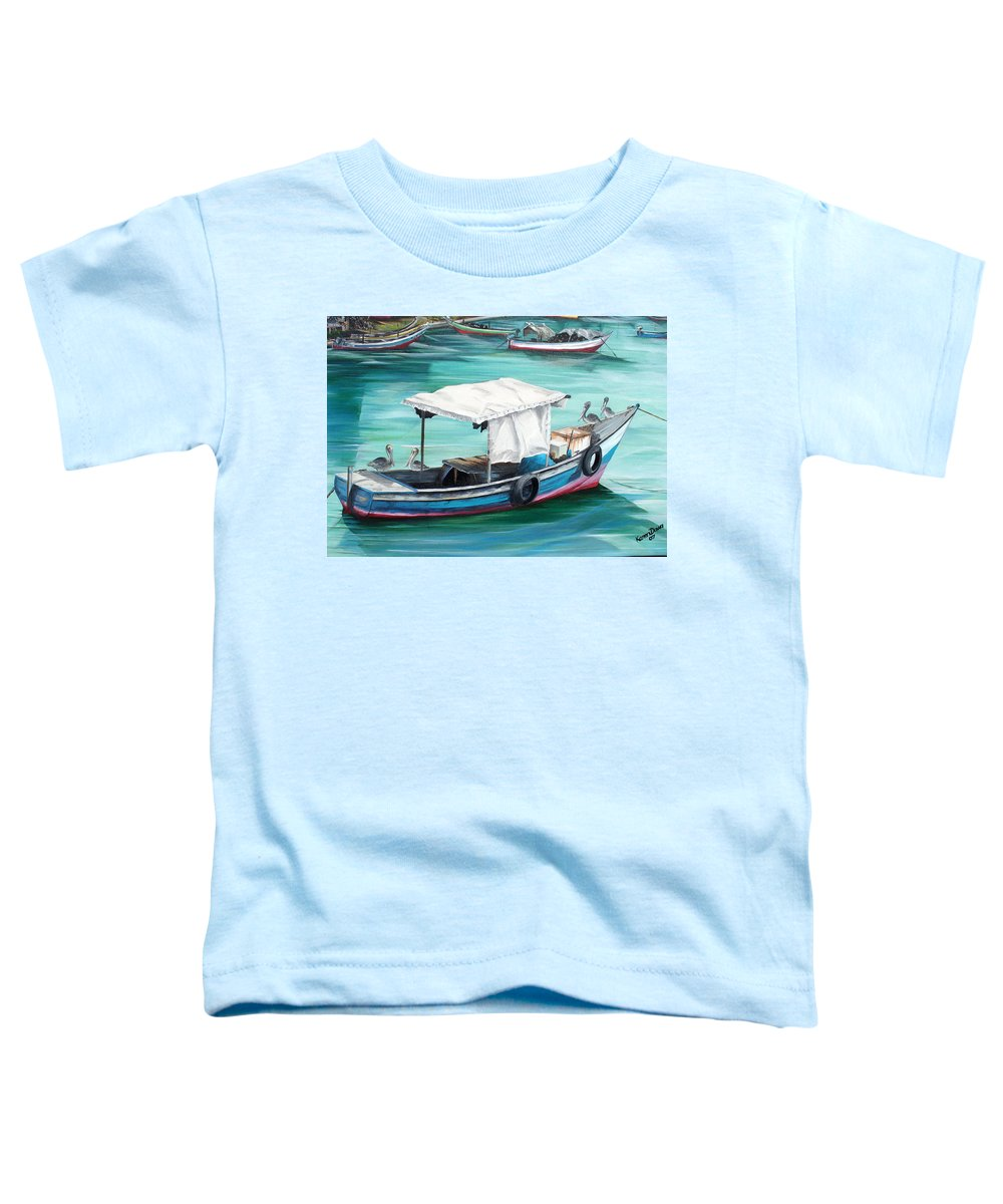 Fishing Boat Painting Seascape Ocean Painting Pelican Painting Boat Painting Caribbean Painting Pirogue Oil Fishing Boat Trinidad And Tobago Toddler T-Shirt featuring the painting Pirogue Fishing Boat by Karin Dawn Kelshall- Best