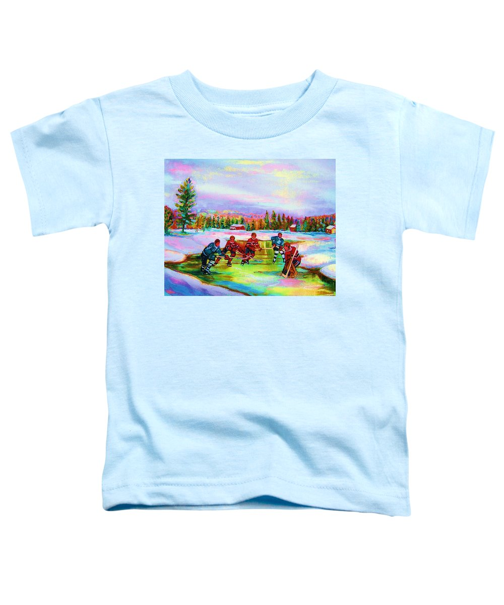 Hockey Toddler T-Shirt featuring the painting Pond Hockey Blue Skies by Carole Spandau