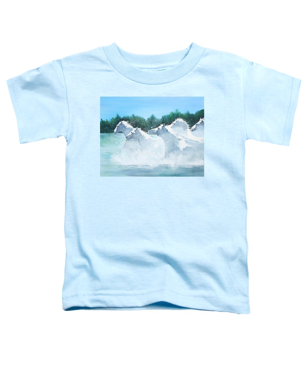 Horse Toddler T-Shirt featuring the painting Splash 2 by Ally Benbrook