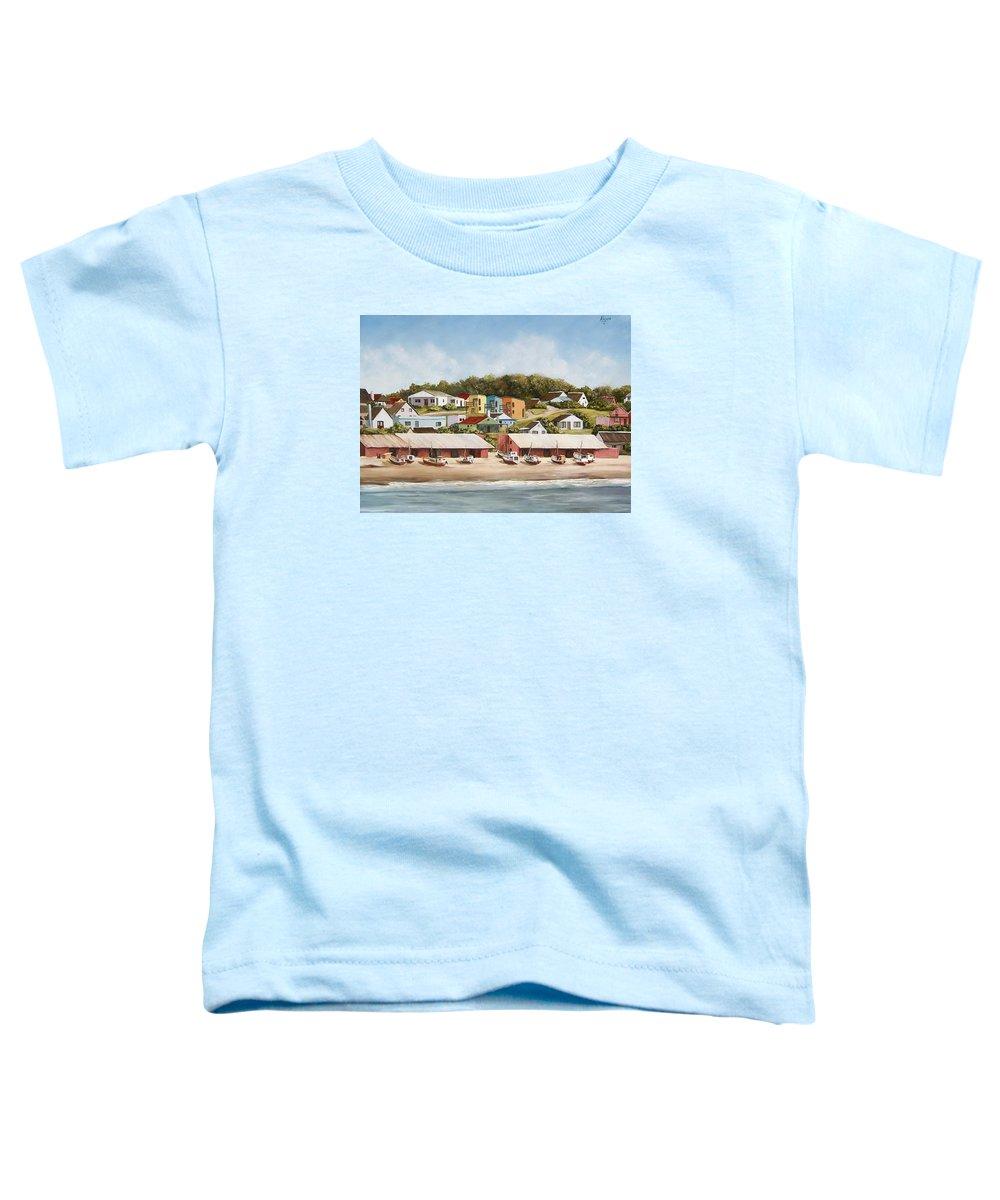 Landscape Seascape Uruguay Sea Seaside Boats Toddler T-Shirt featuring the painting Punta Del Diablo 2 by Natalia Tejera