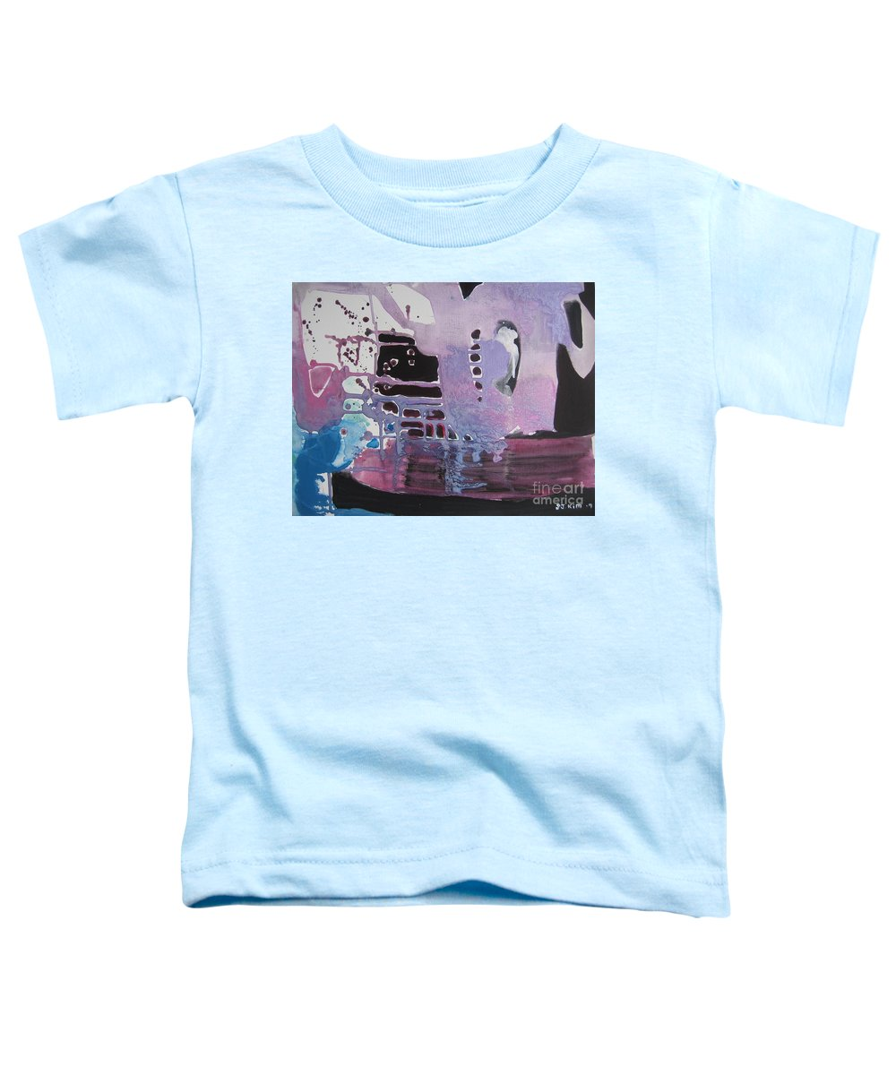 Abstract Paintings Toddler T-Shirt featuring the painting Purple Seascape by Seon-Jeong Kim