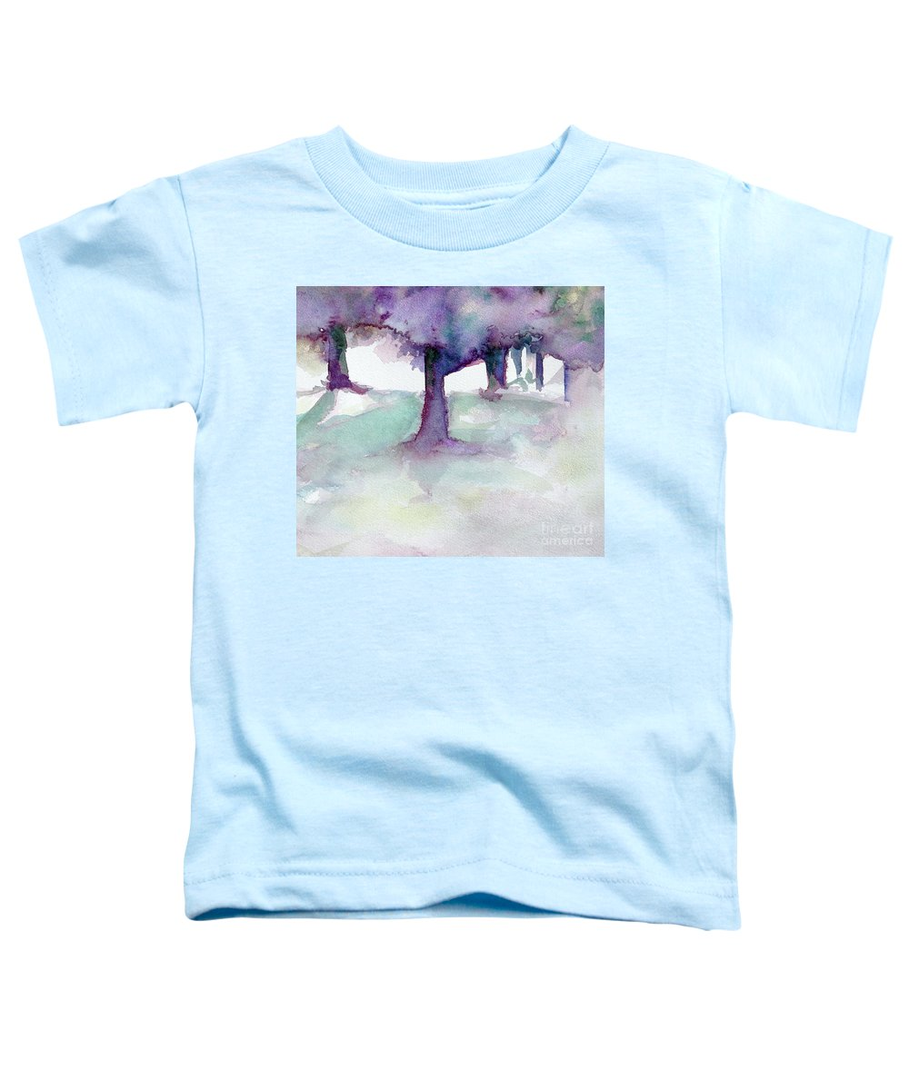 Landscape Toddler T-Shirt featuring the painting Purplescape II by Jan Bennicoff