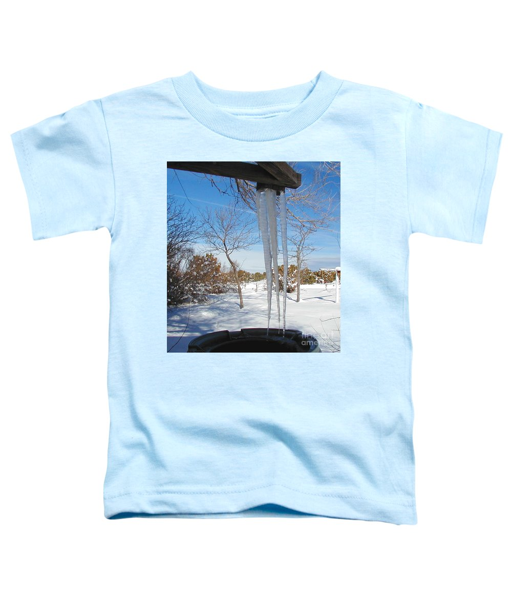 Icicle Toddler T-Shirt featuring the photograph Rain Barrel Icicle by Diana Dearen