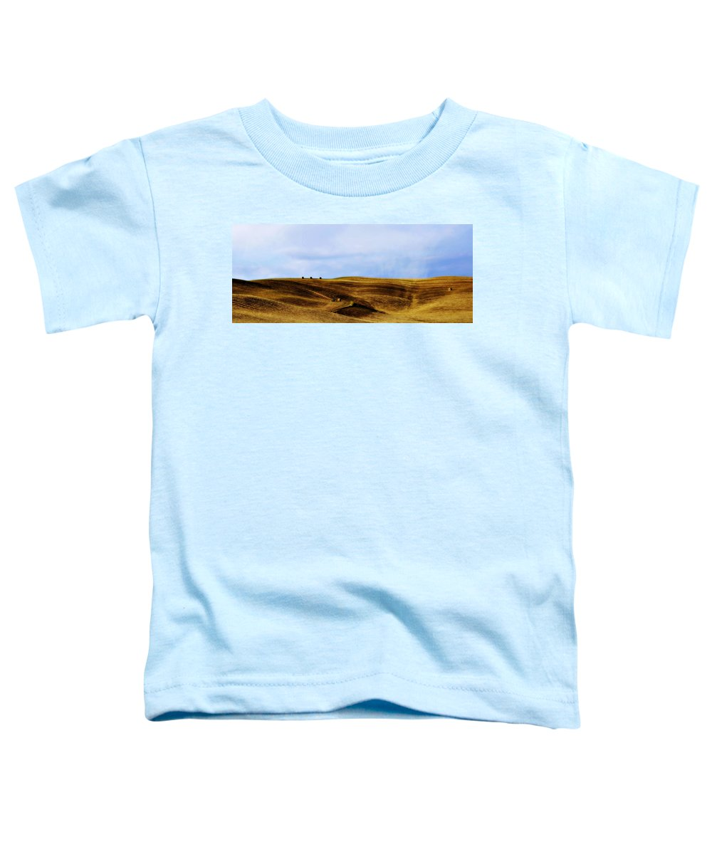 Italy Toddler T-Shirt featuring the photograph Rolling Hills Of Hay by Marilyn Hunt