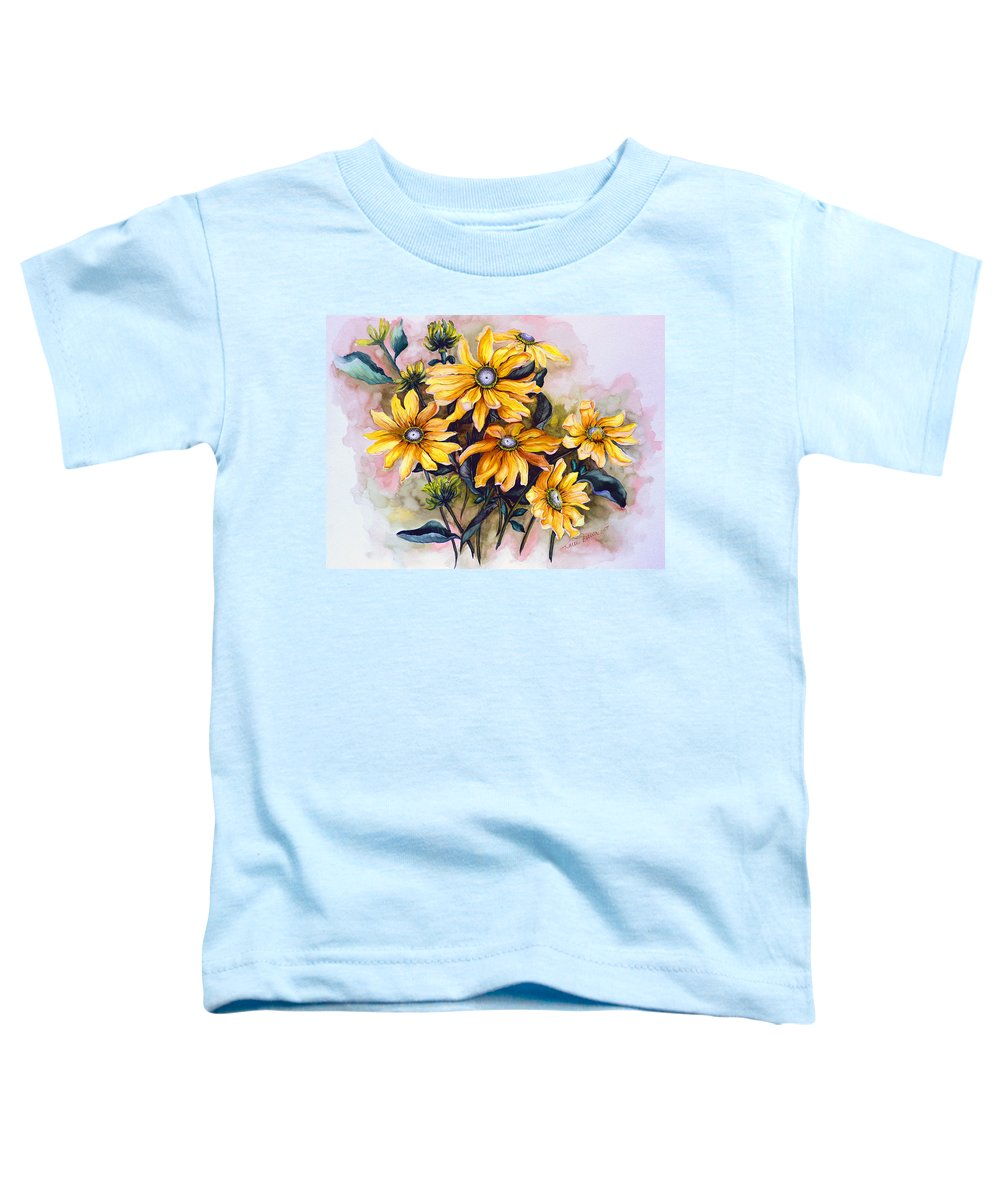 Flower Painting Sun Flower Painting Flower Botanical Painting  Original Watercolor Painting Rudebeckia Painting Floral Painting Yellow Painting Greeting Card Painting Toddler T-Shirt featuring the painting Rudbeckia Prairie Sun by Karin Dawn Kelshall- Best